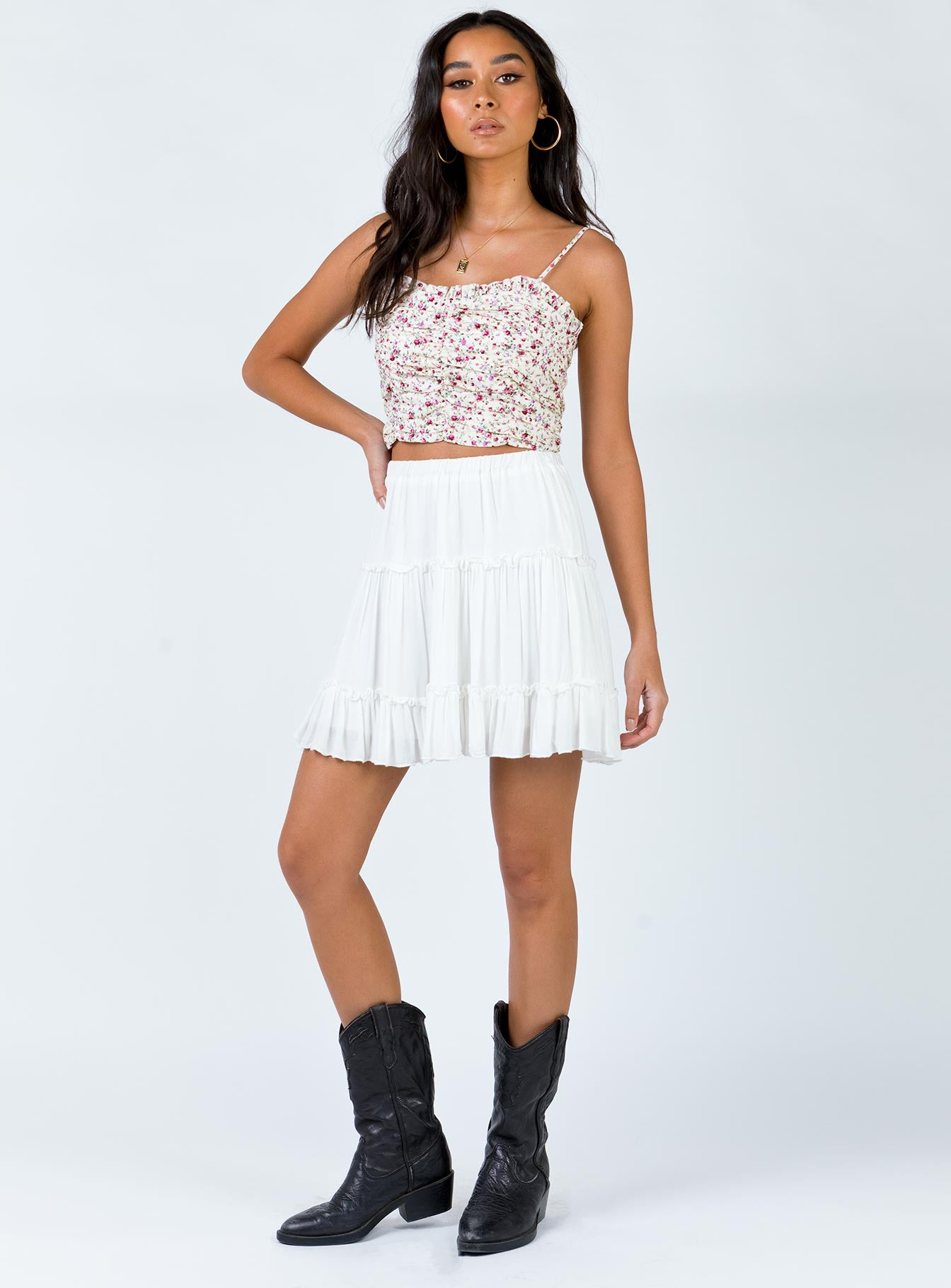 Franklin Floral Top Off White