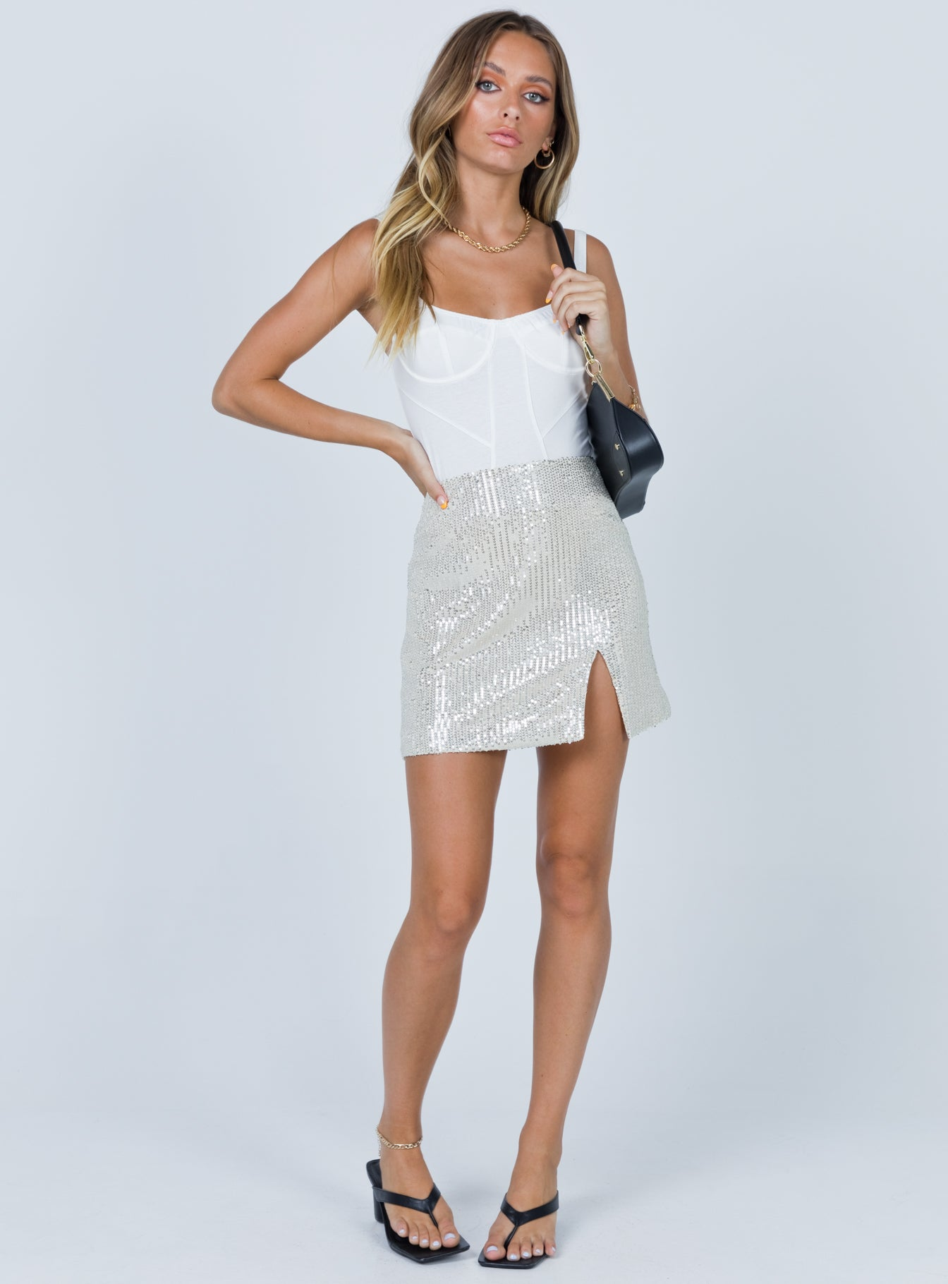 Frayer Mini Skirt Silver