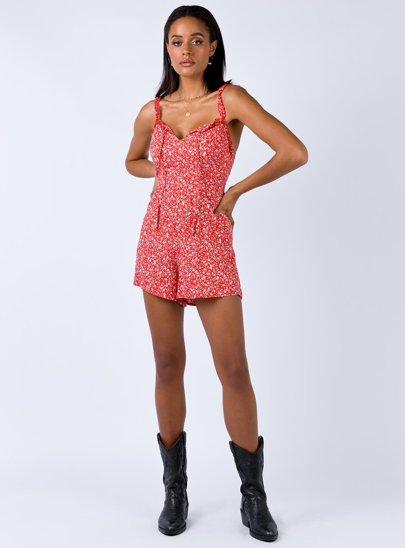 Dalton Playsuit Red Print