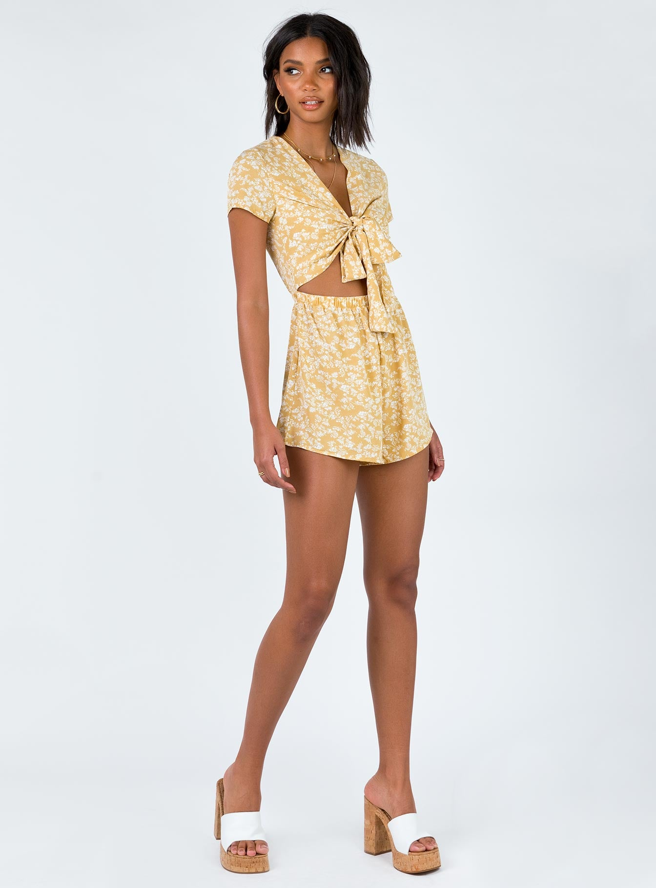 Sweet Sahara Tie Front Playsuit Yellow Floral