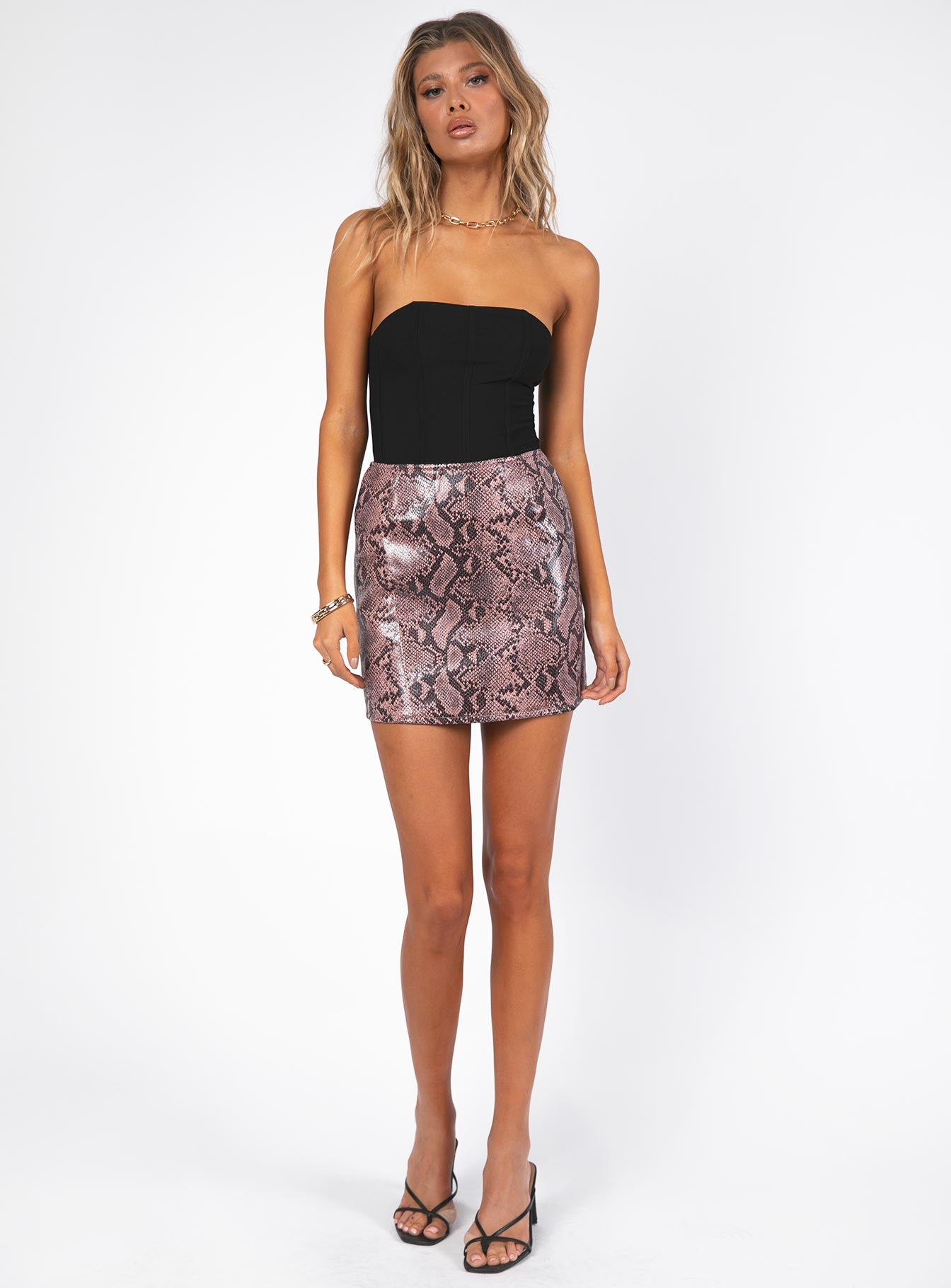 Motel Pelmo Mini Skirt Mauve Snake