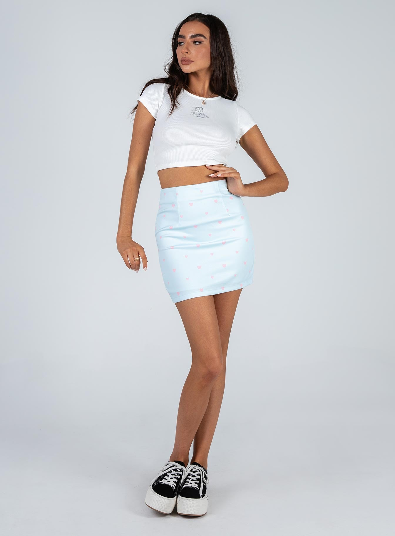 Chain Of Hearts Mini Skirt Blue