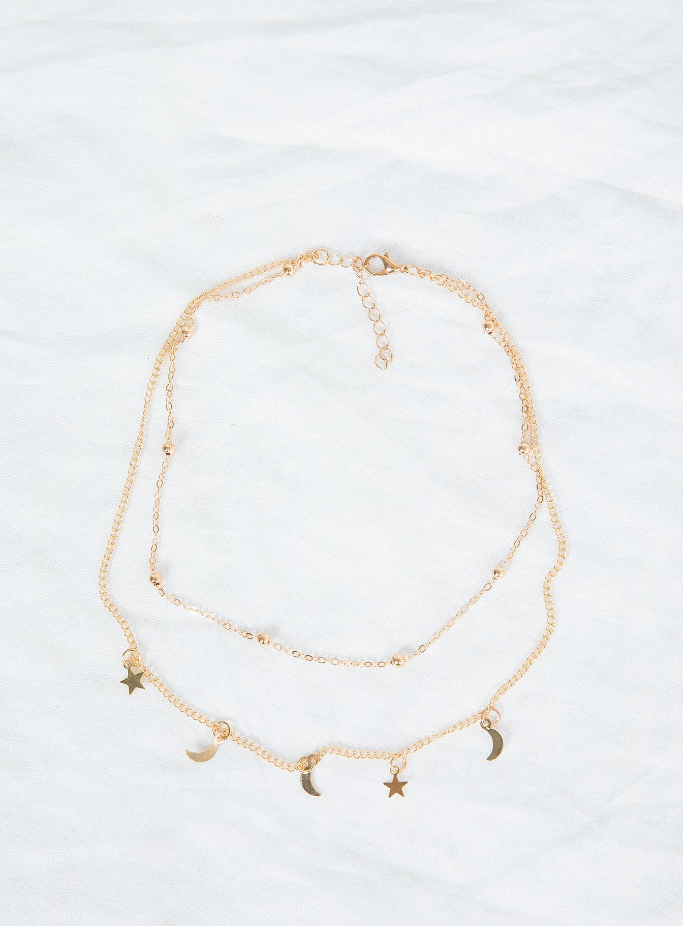Dainty Double Chain Star Gazer Necklace