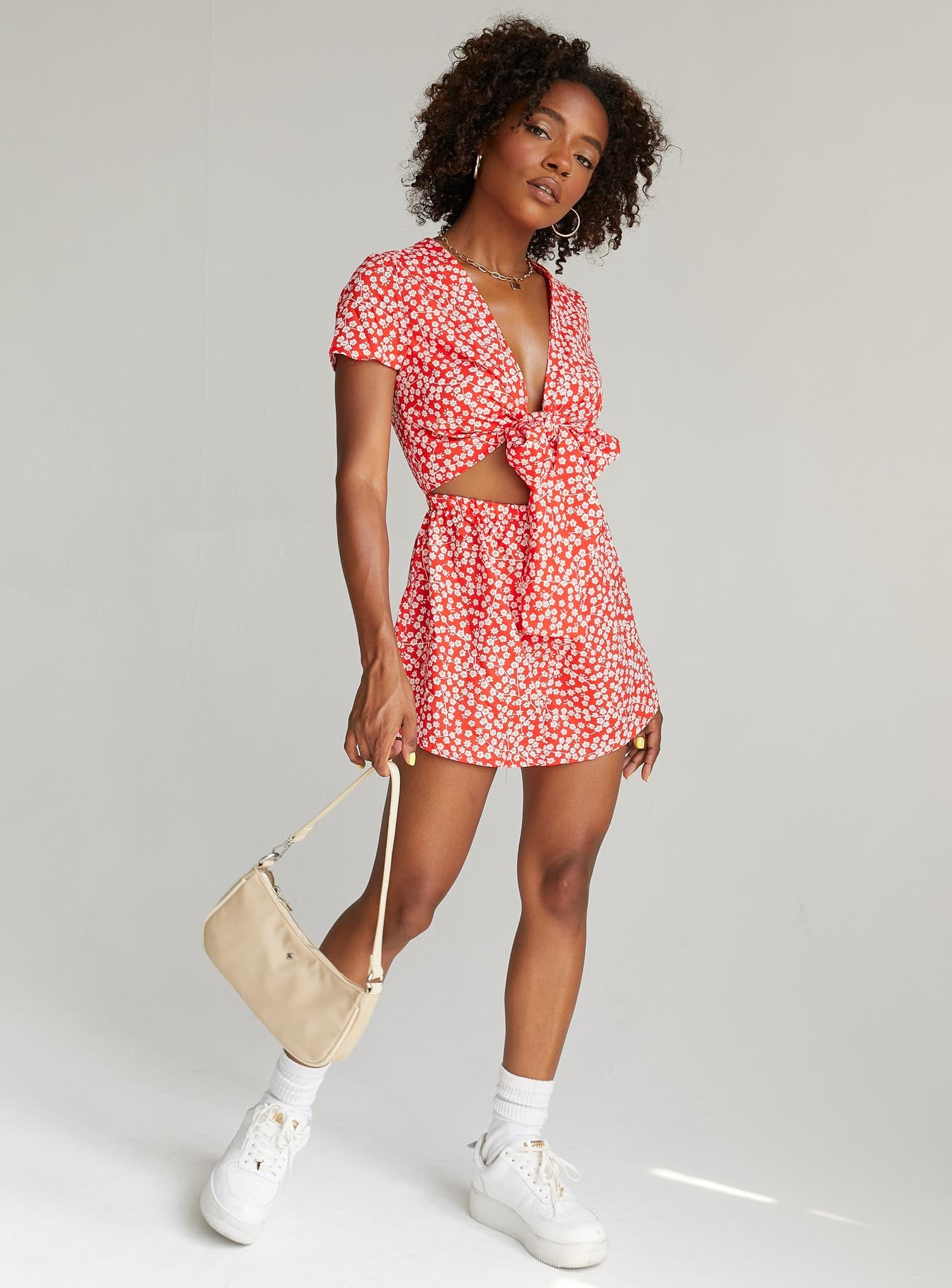 Virgo Tie Front Romper Red