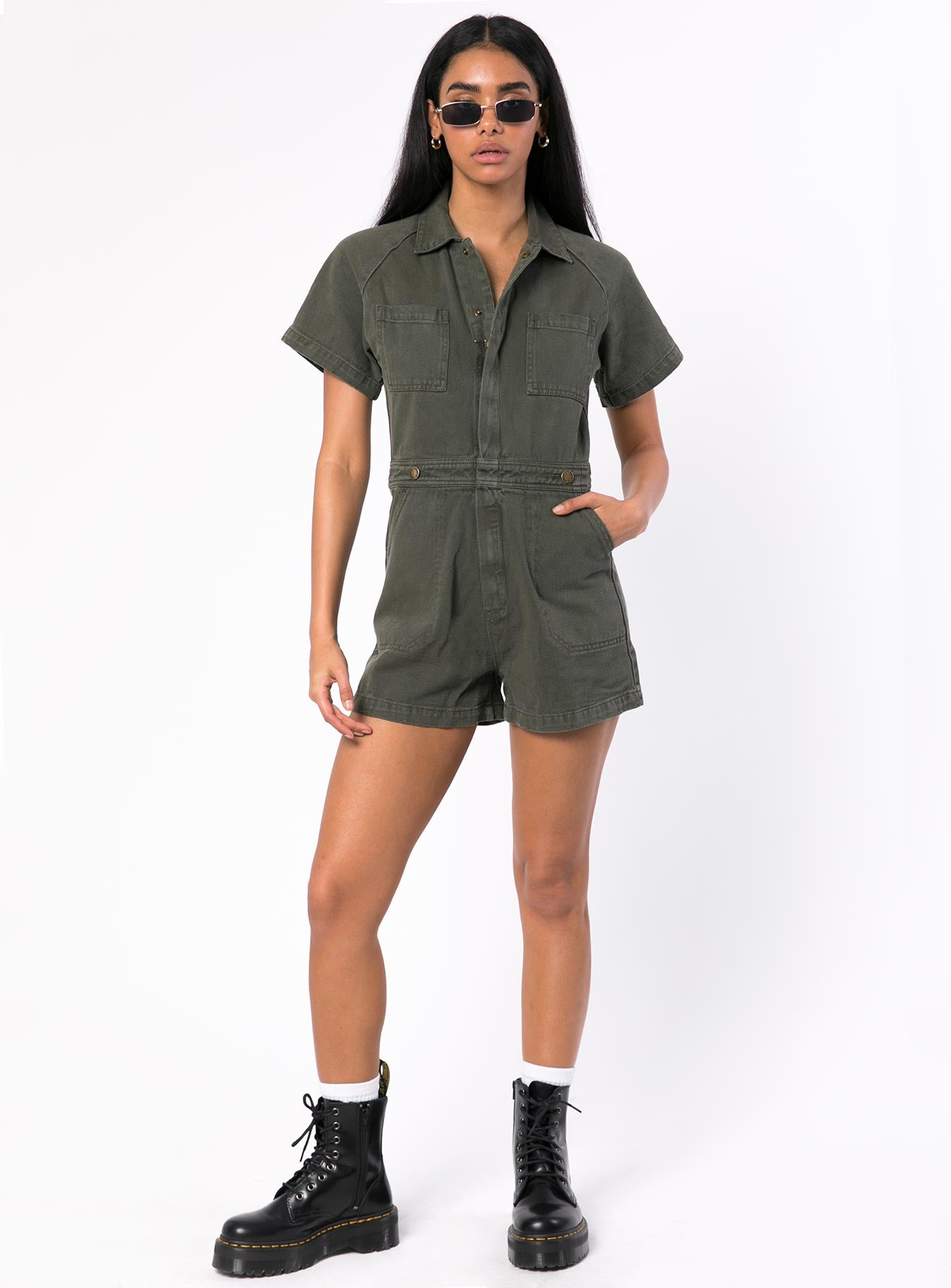 Thrills Tab Sailor Romper Army Green