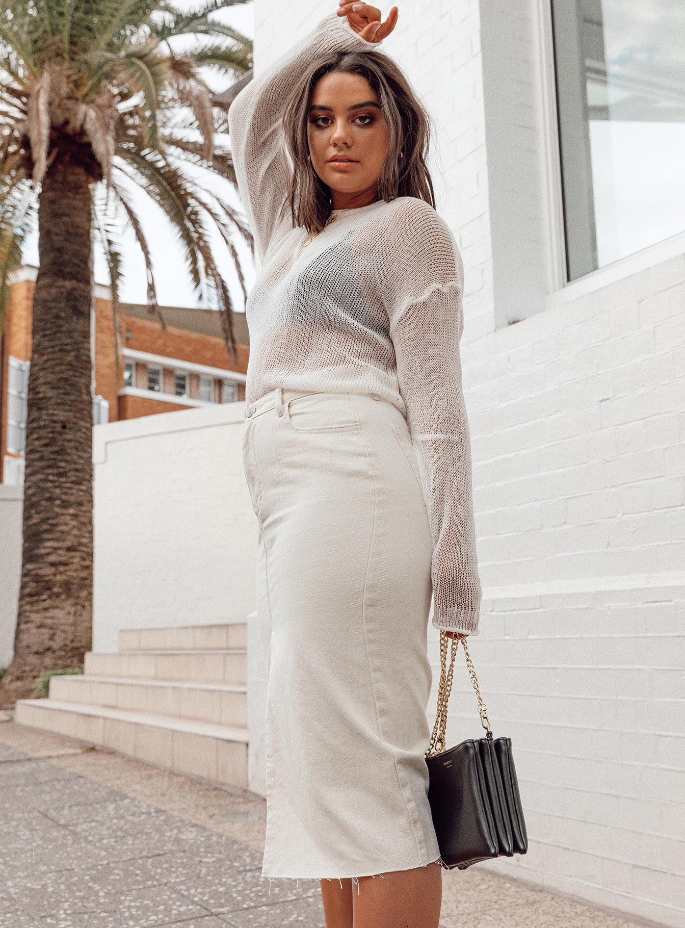Blanco Denim Midi Skirt Off White