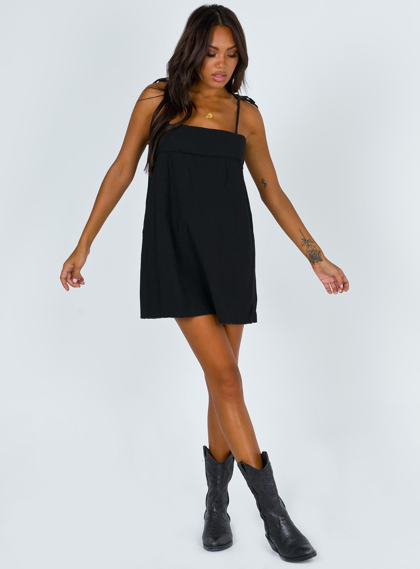 The Vale Tie Shoulder Dress Black