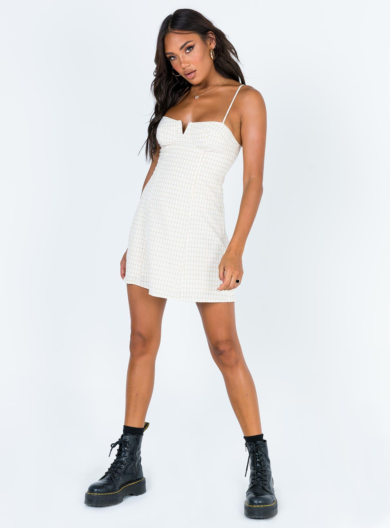 Just Friends Mini Dress Beige