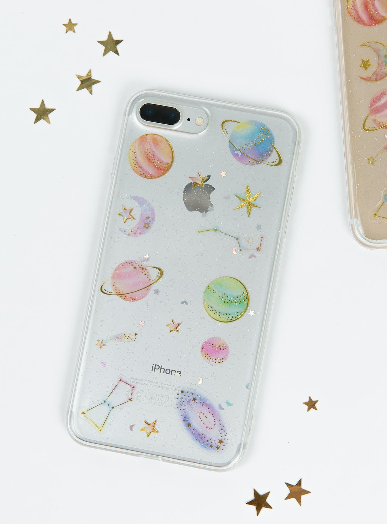 Glitter & Space Phone Case Clear