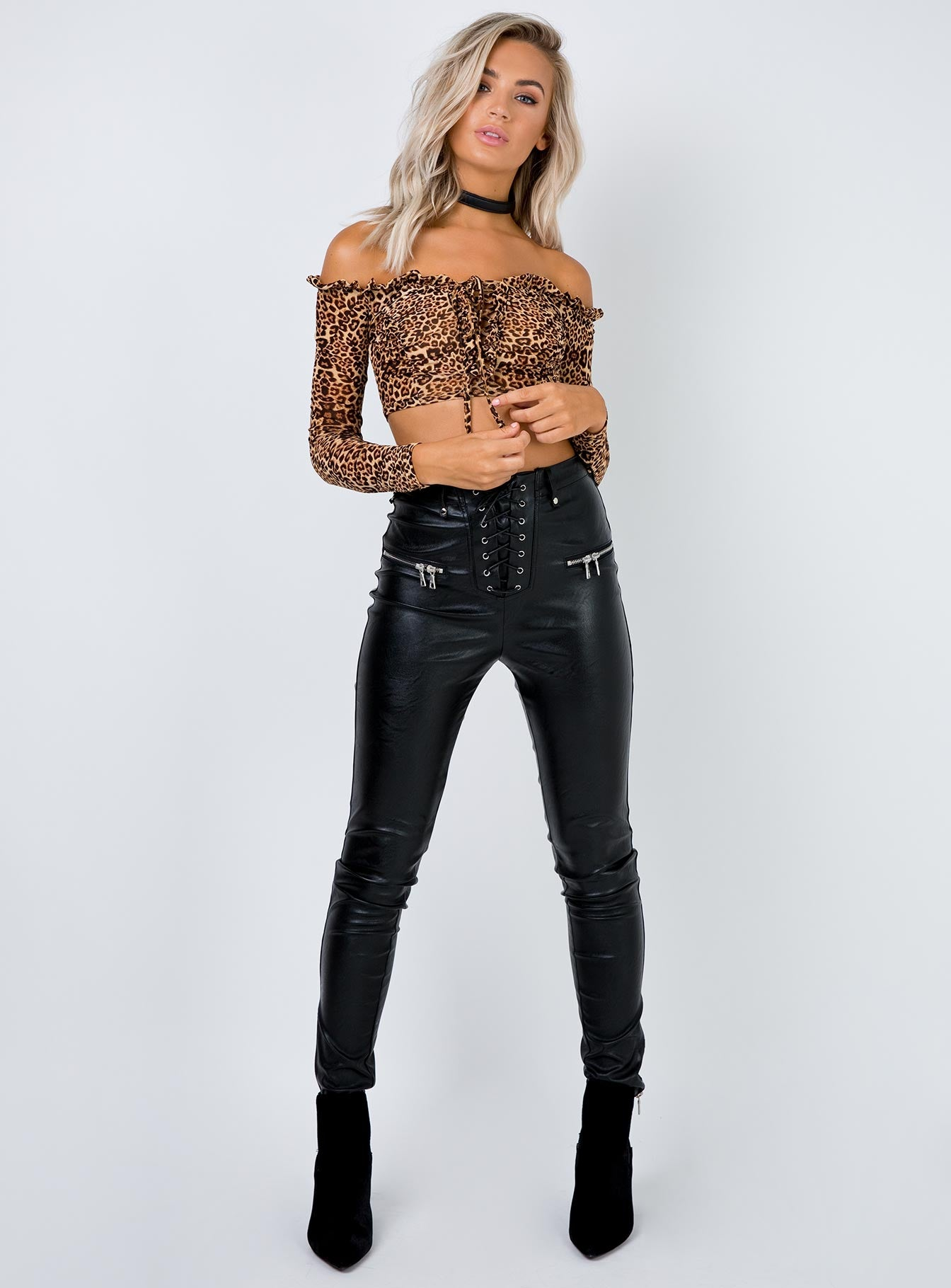 Explosive Punk Crop Top Leopard