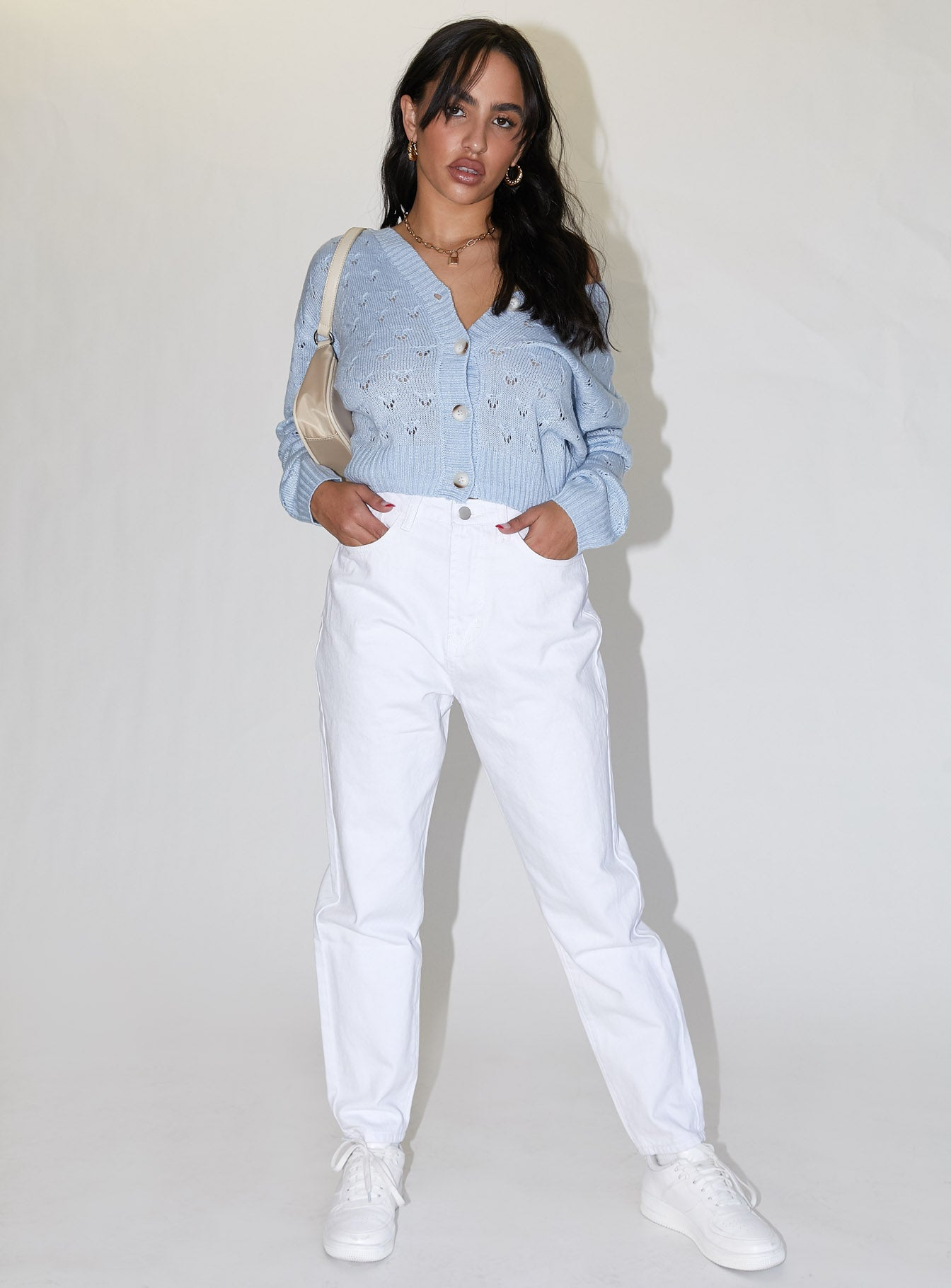 Bella Mom Jeans White Denim