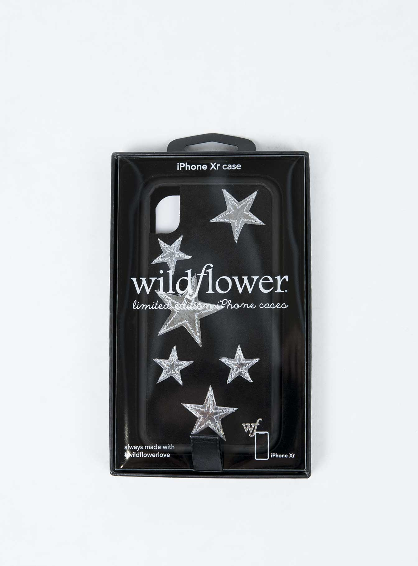 Wildflower Black Velvet Silver Stars iPhone Case XR