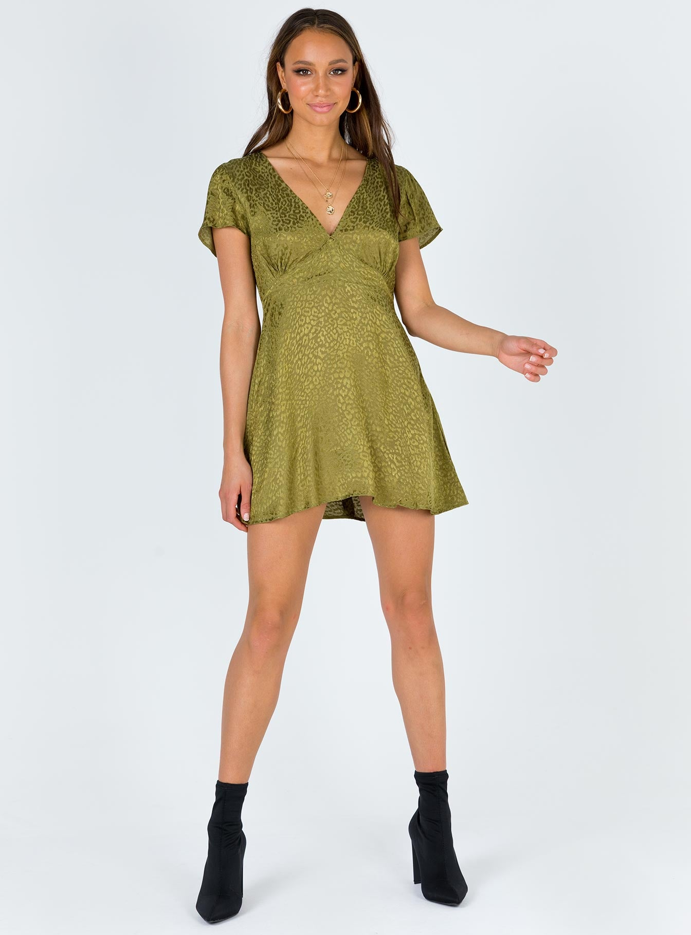 Motel Elara Dress Satin Cheetah Khaki
