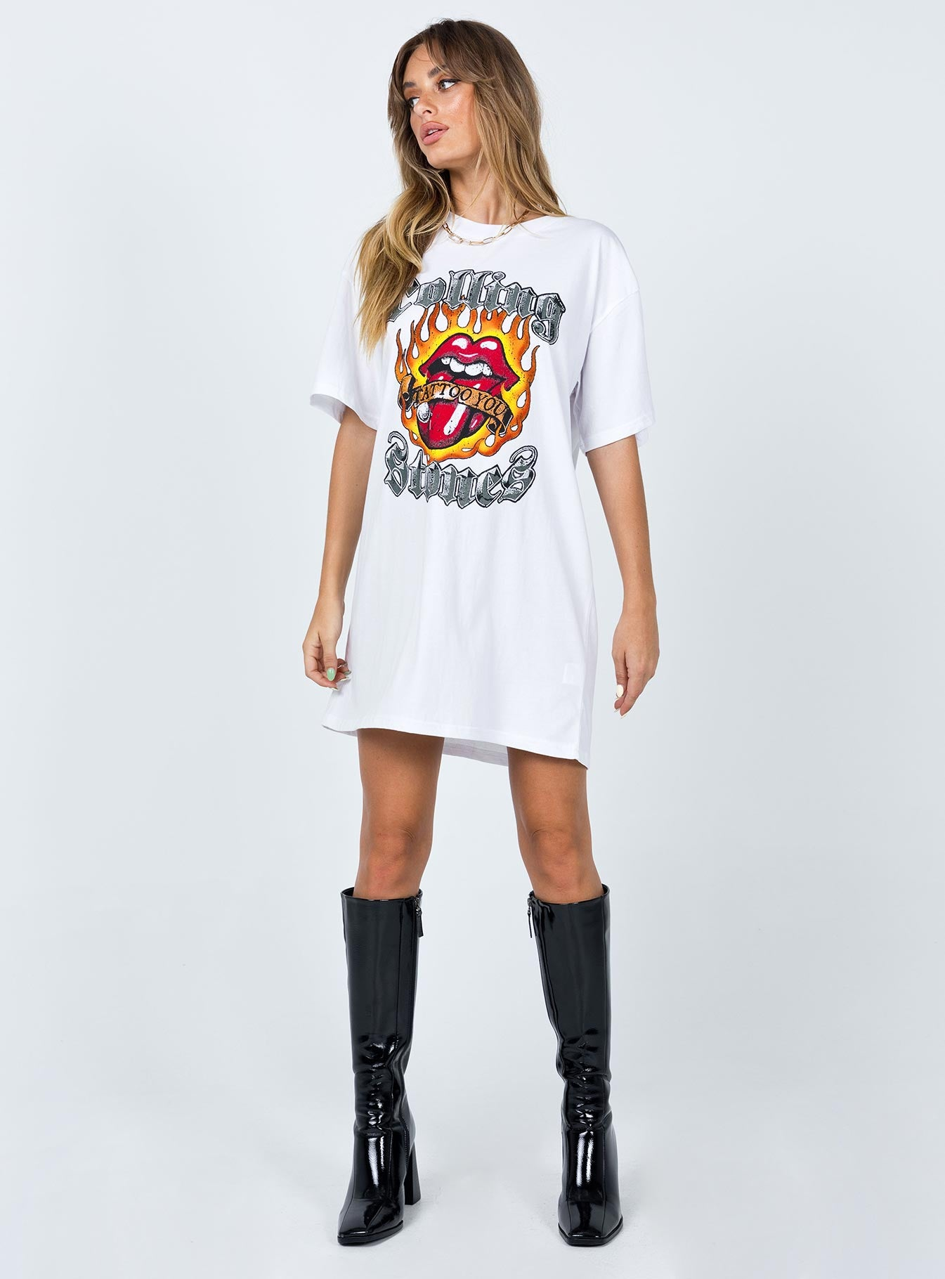 Rolling Stone Tattoo You Tee Dress White