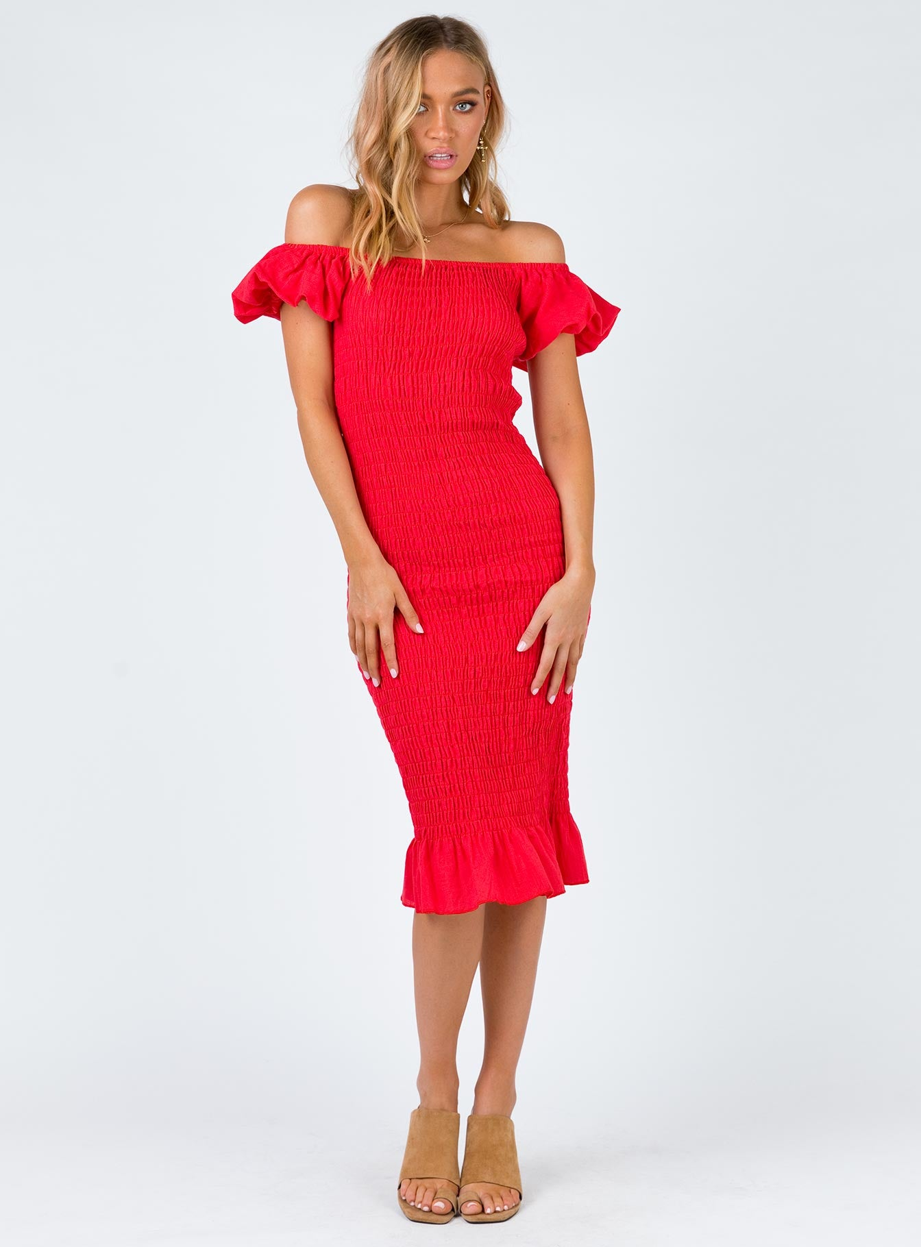 Rylee Midi Dress Red