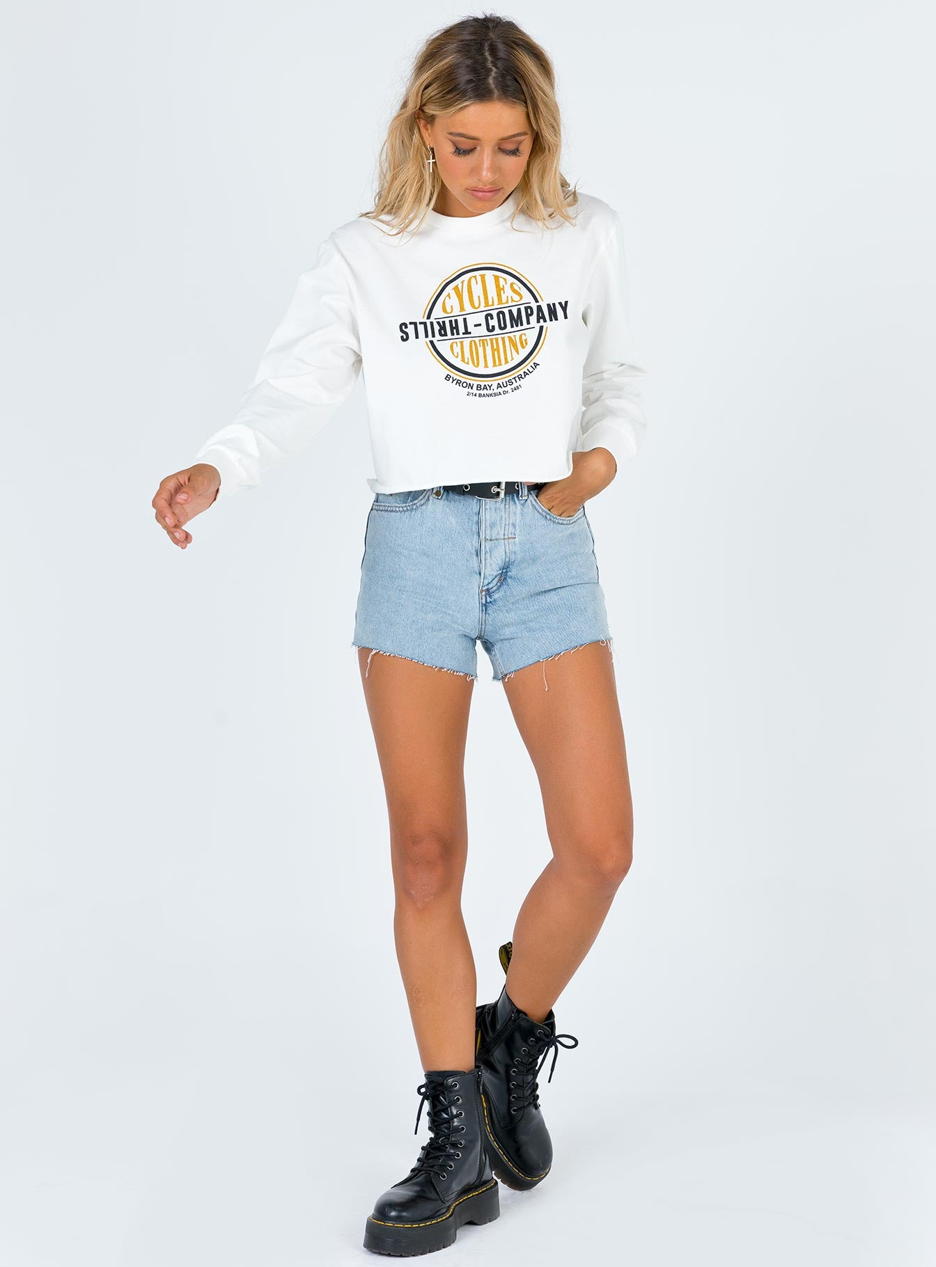 Thrills Cycles & Clothing Merch Crop LS Dirty White