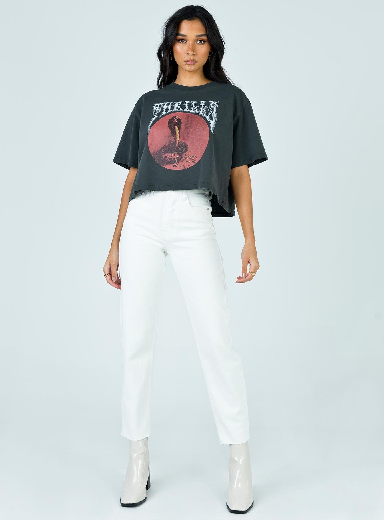 Thrills Hysteria Merch Crop Tee Merch Black