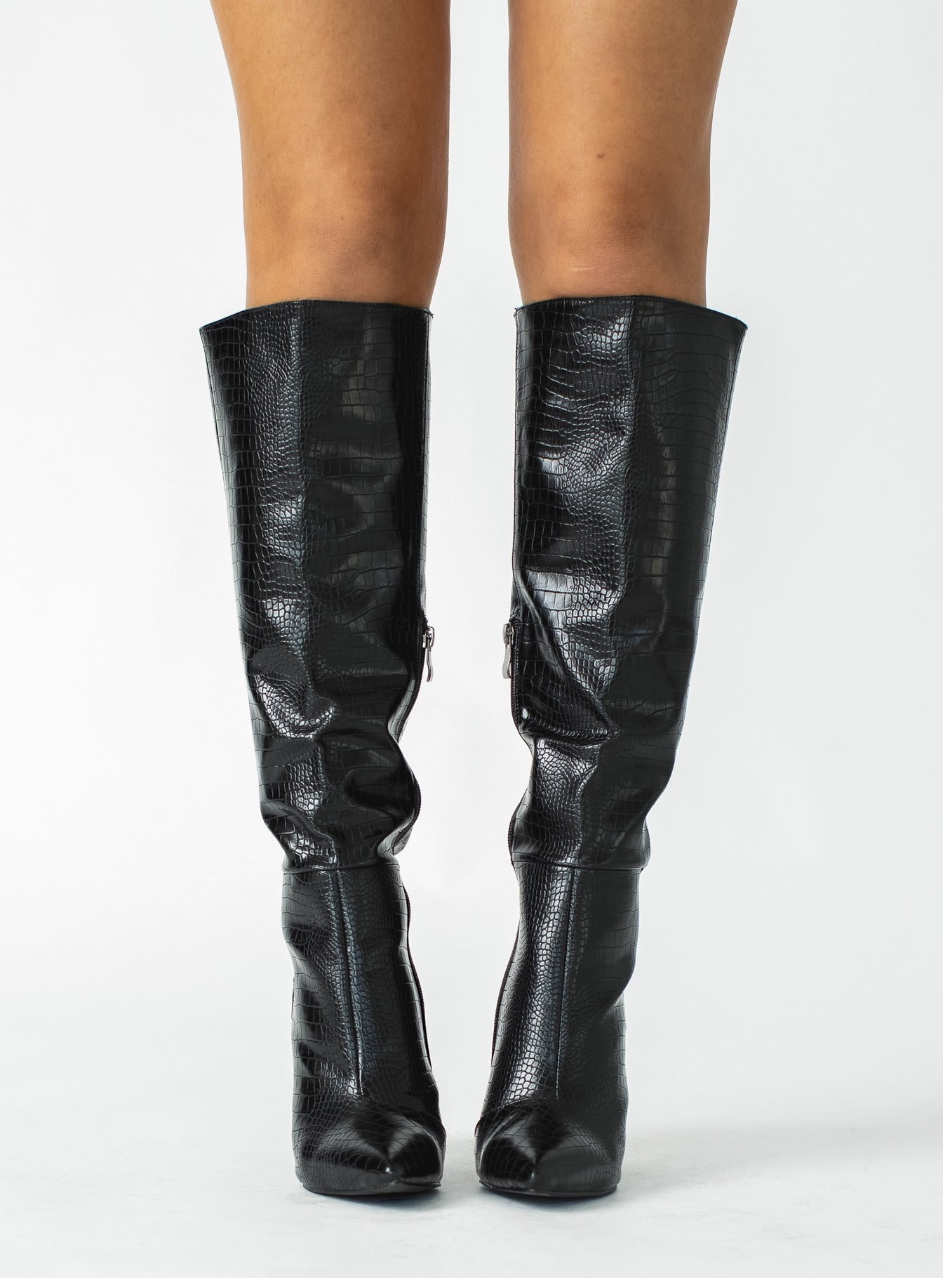 Billini Milla Croc Knee High Boot Black