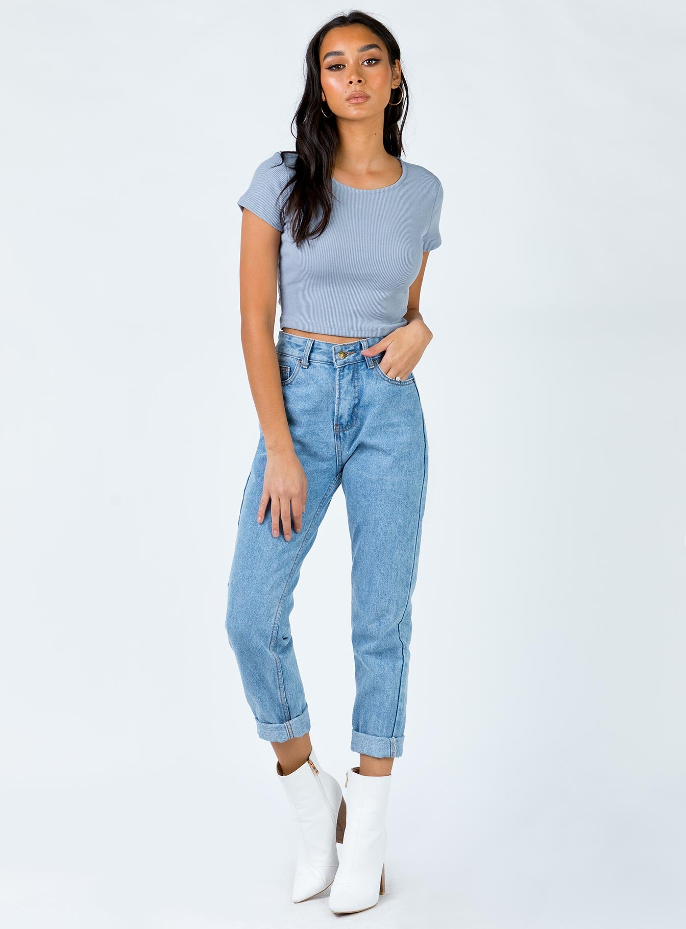 The Classic Cropped Tee Blue