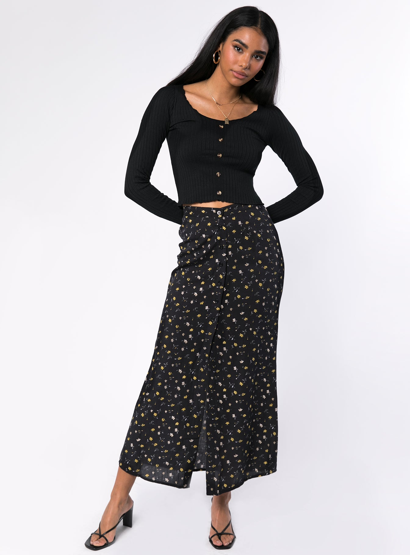 Motel Rima Midi Skirt Black Pretty Petal