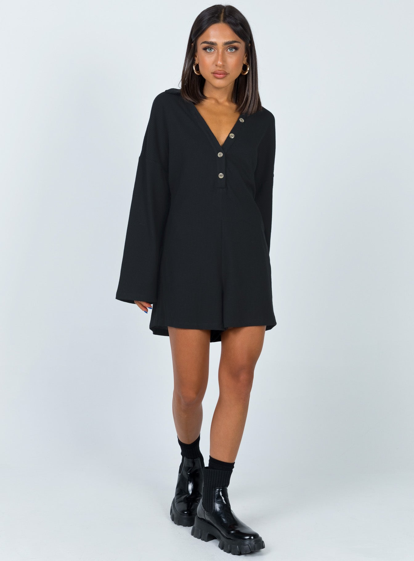 Kegan Long Sleeve Romper Black