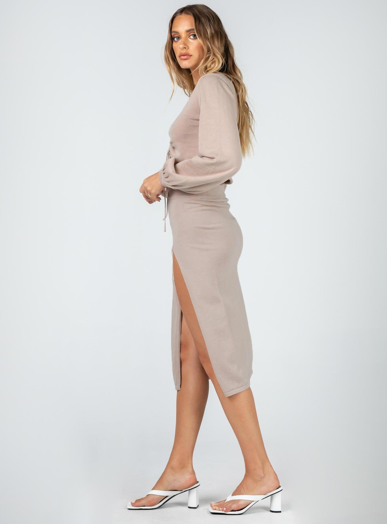 Kora Midi Skirt Brown