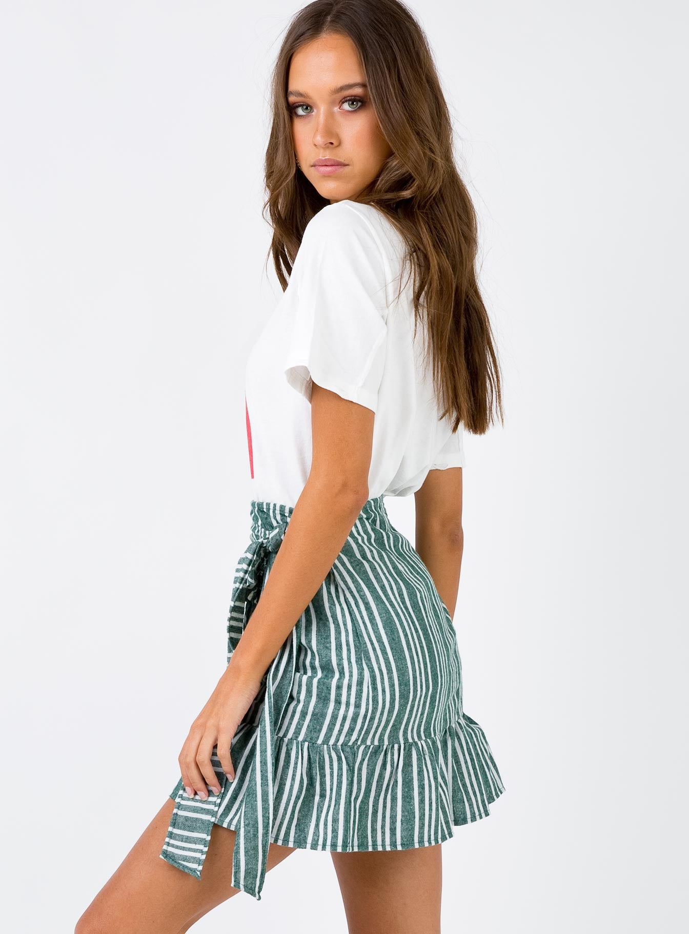 Mid Summer Blues Mini Skirt Green/White