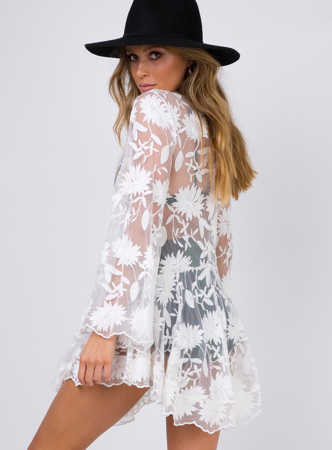 Indigo Skies Lace Mini Dress  White