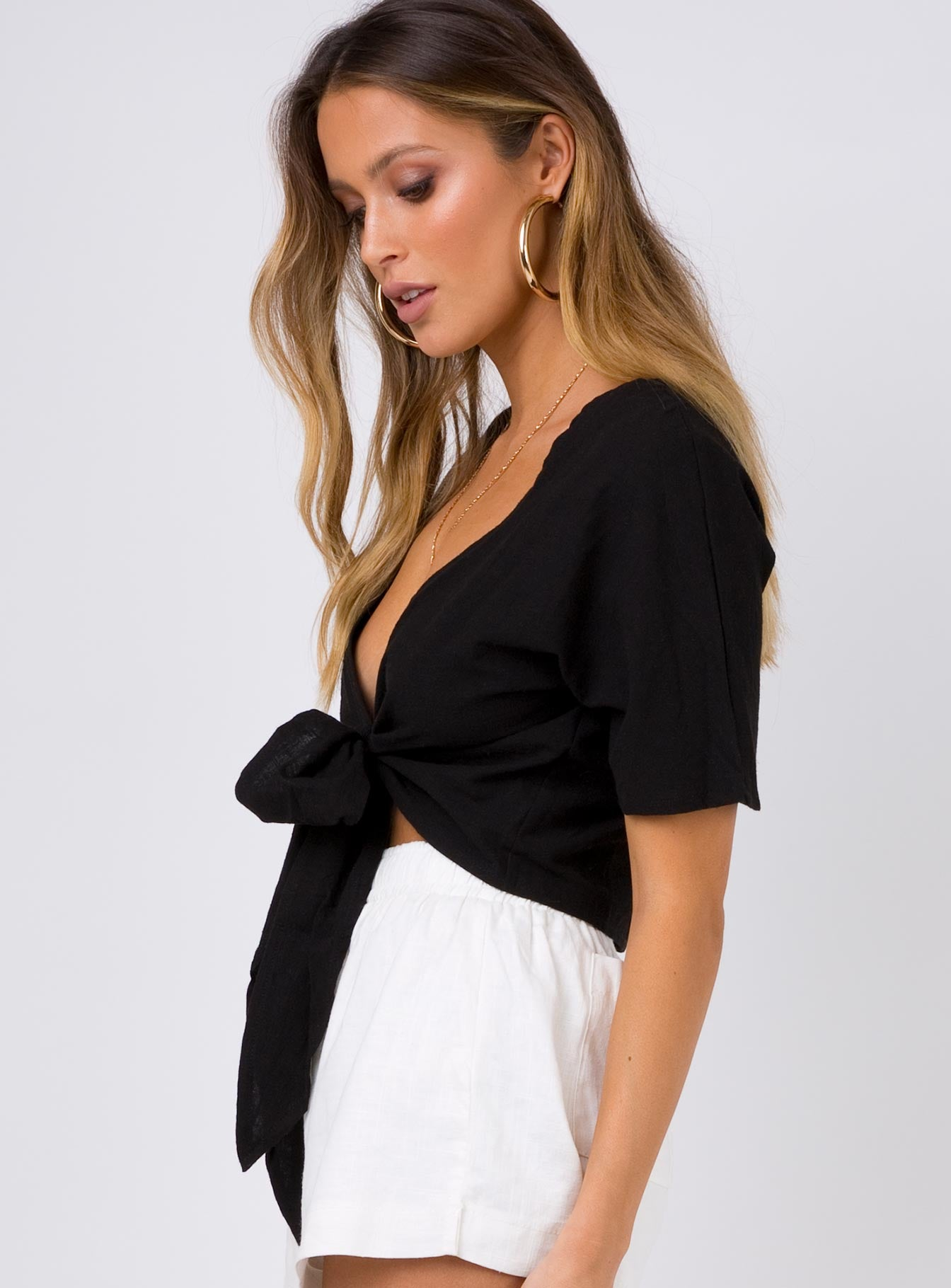 Luca Tie Front Top Black