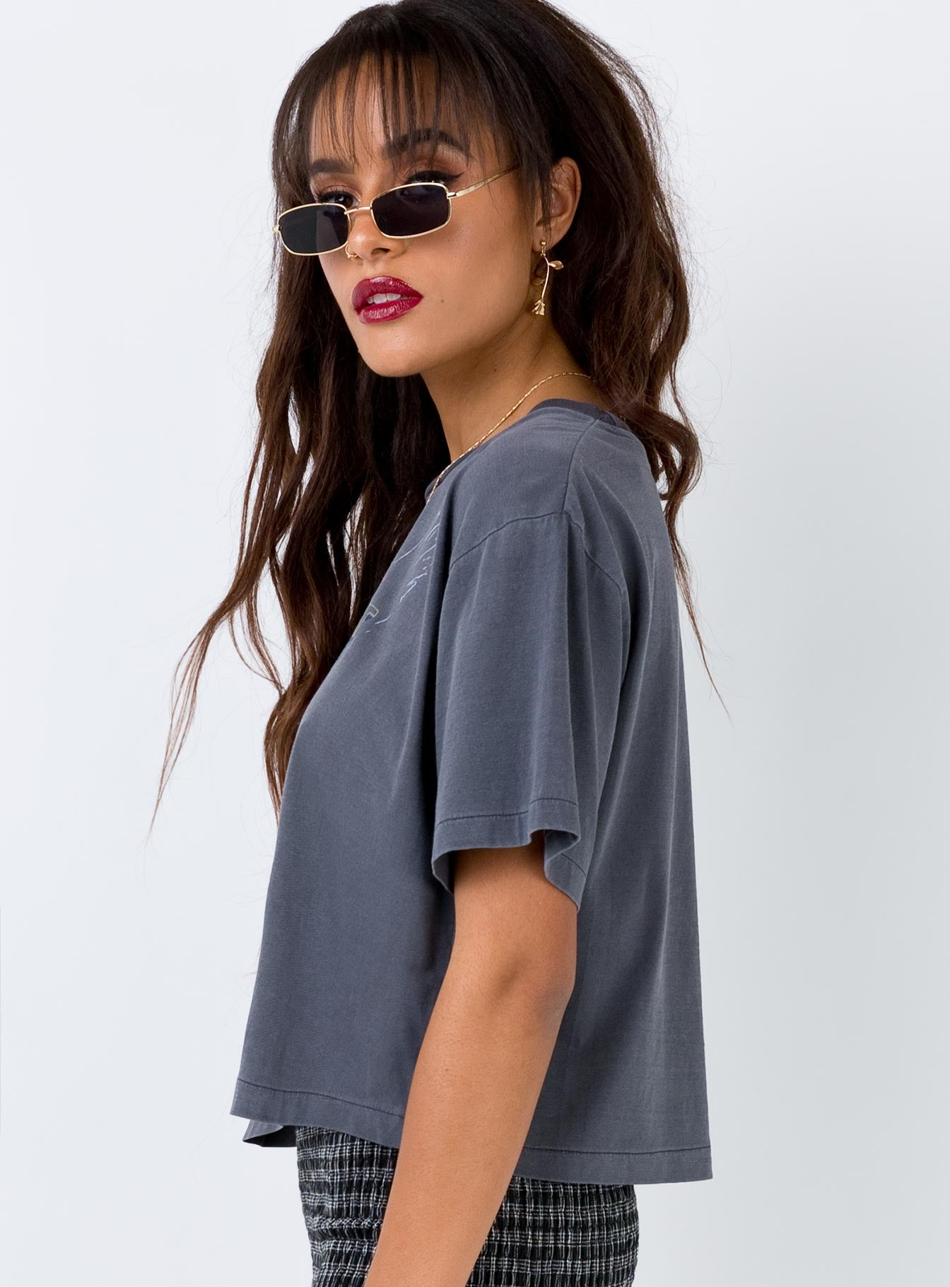 Thrills Cropped Oversized Tee Free Spirit Vintage Black