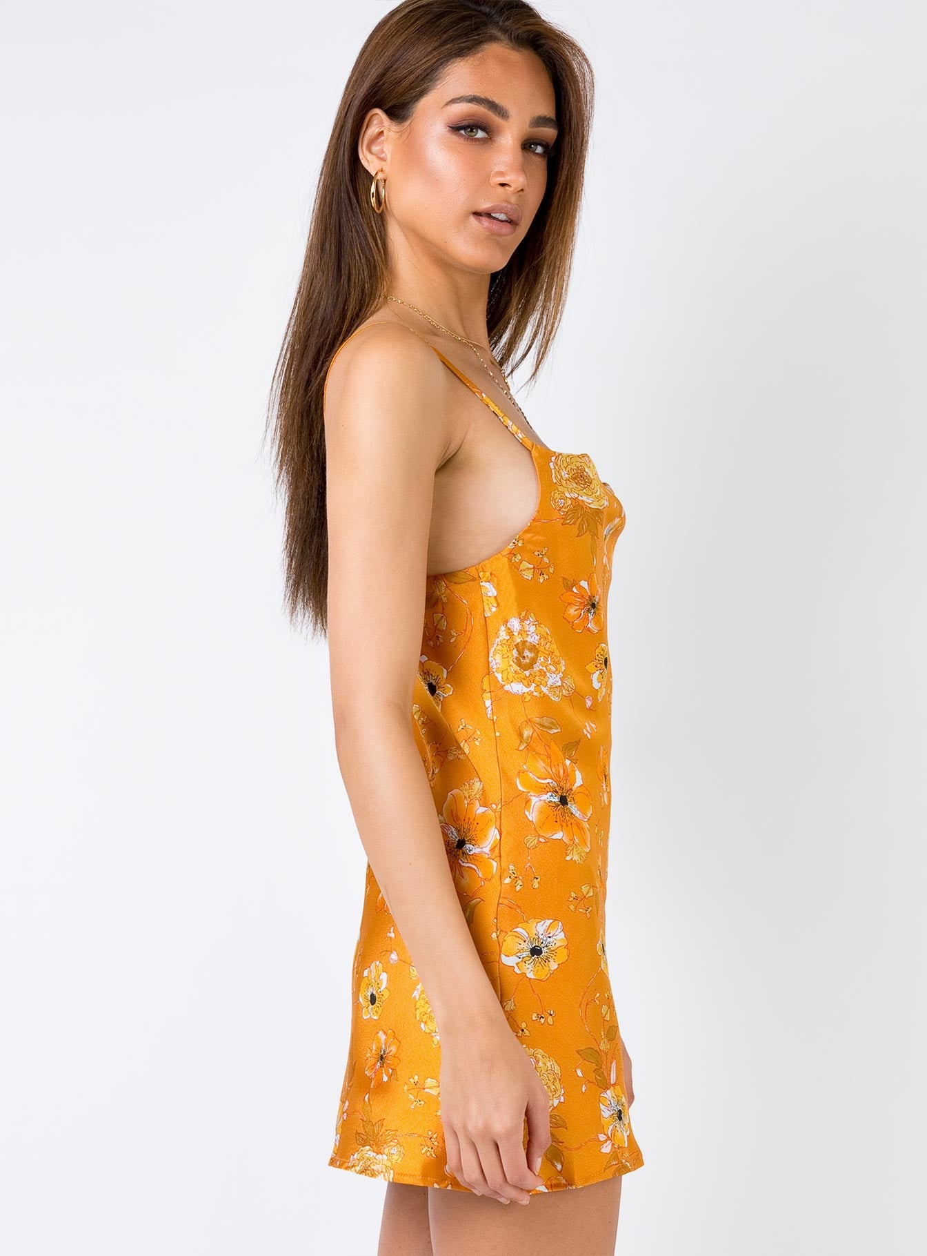 Birds Of Paradise Mini Dress Burnt Orange