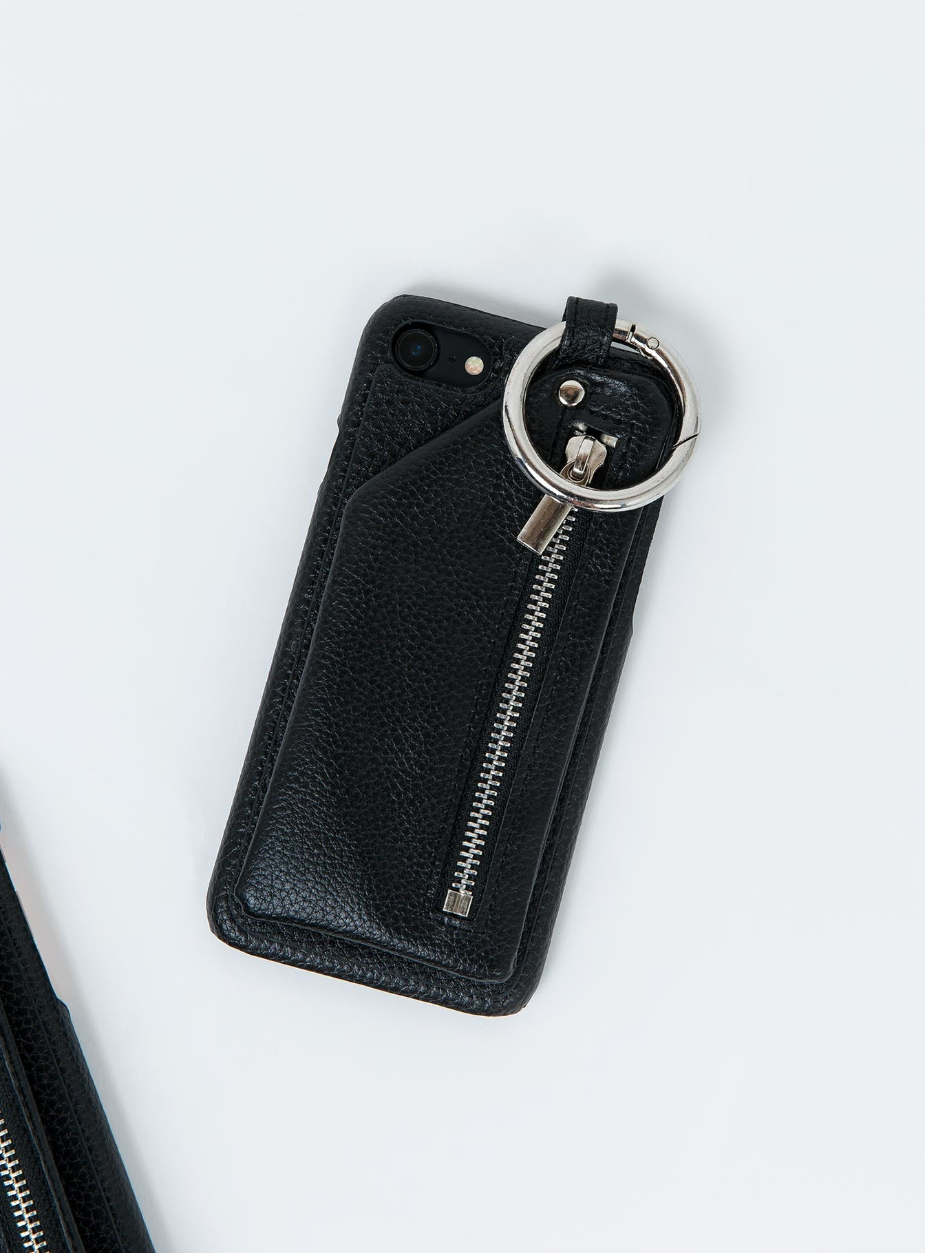 Vegan Leather Zip Phone Case Black