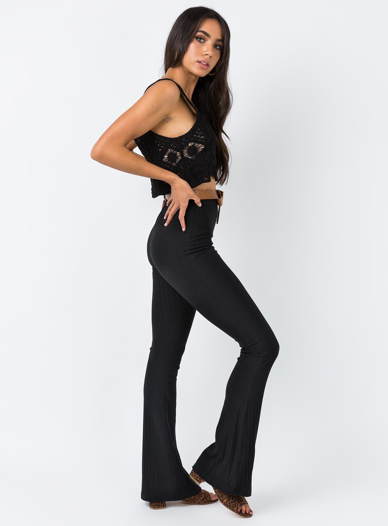 Midnight Fever Flared Pants Black