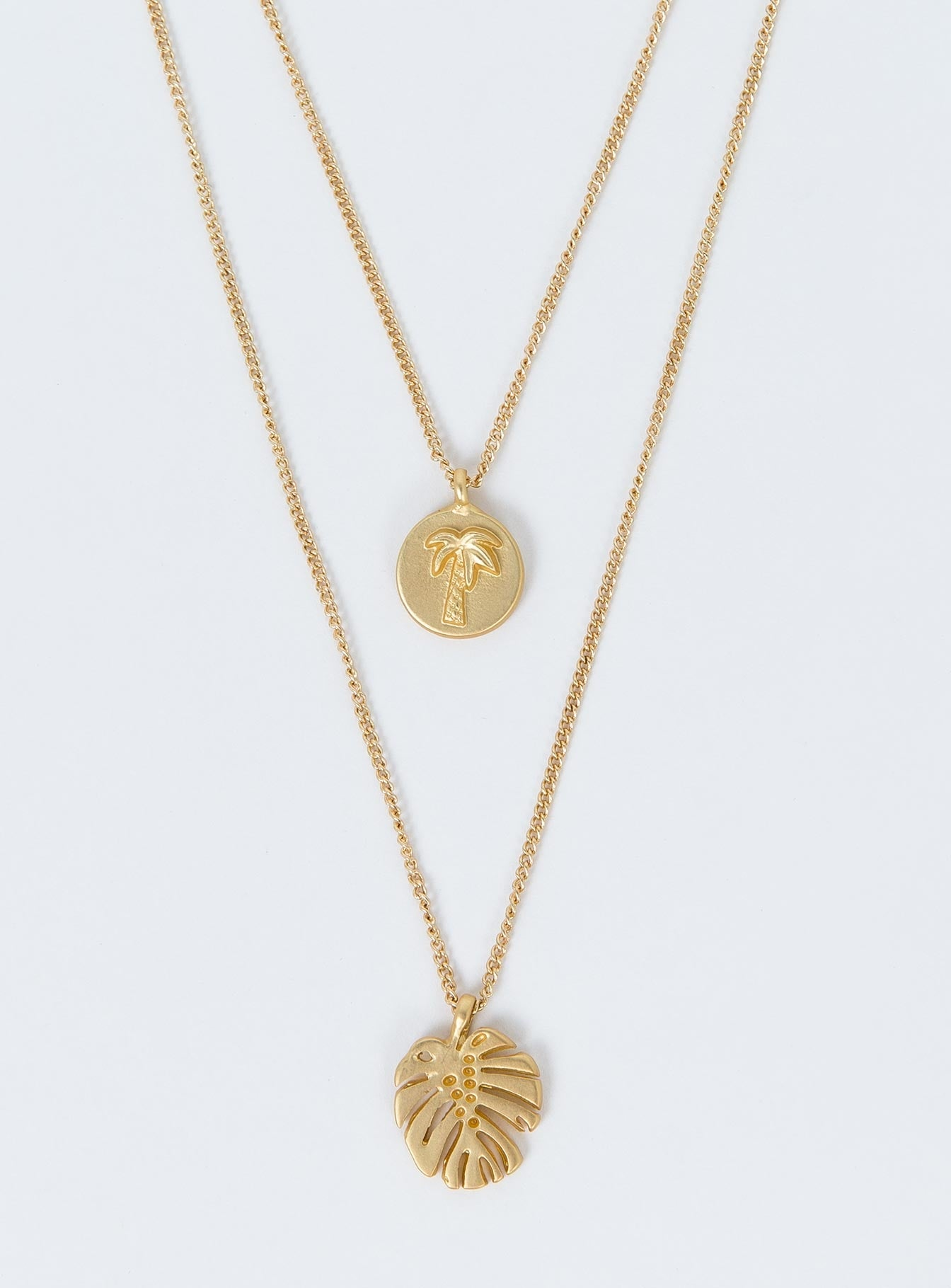 Palm Leaf Layered Necklace Gold
