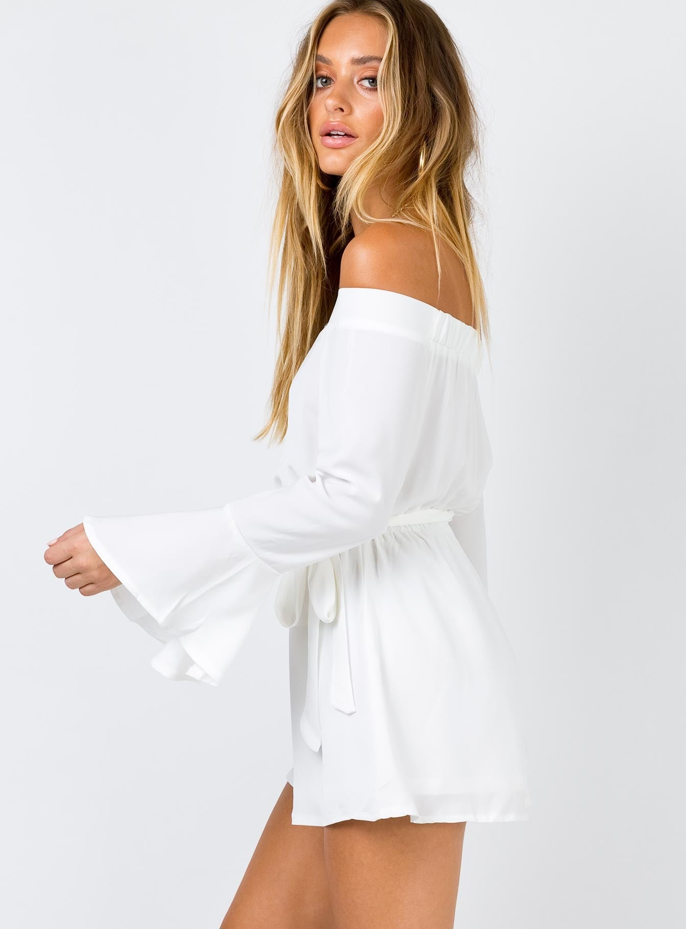 Marsanne Off The Shoulder Playsuit White
