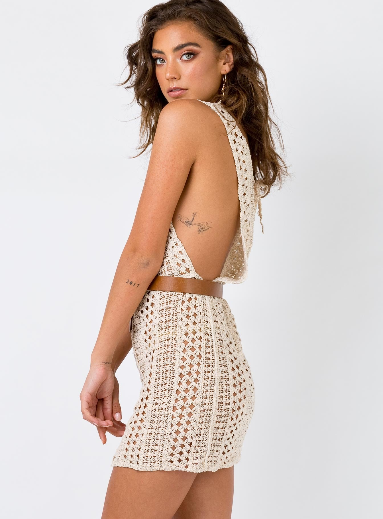 Crosby Crochet Mini Dress Tan