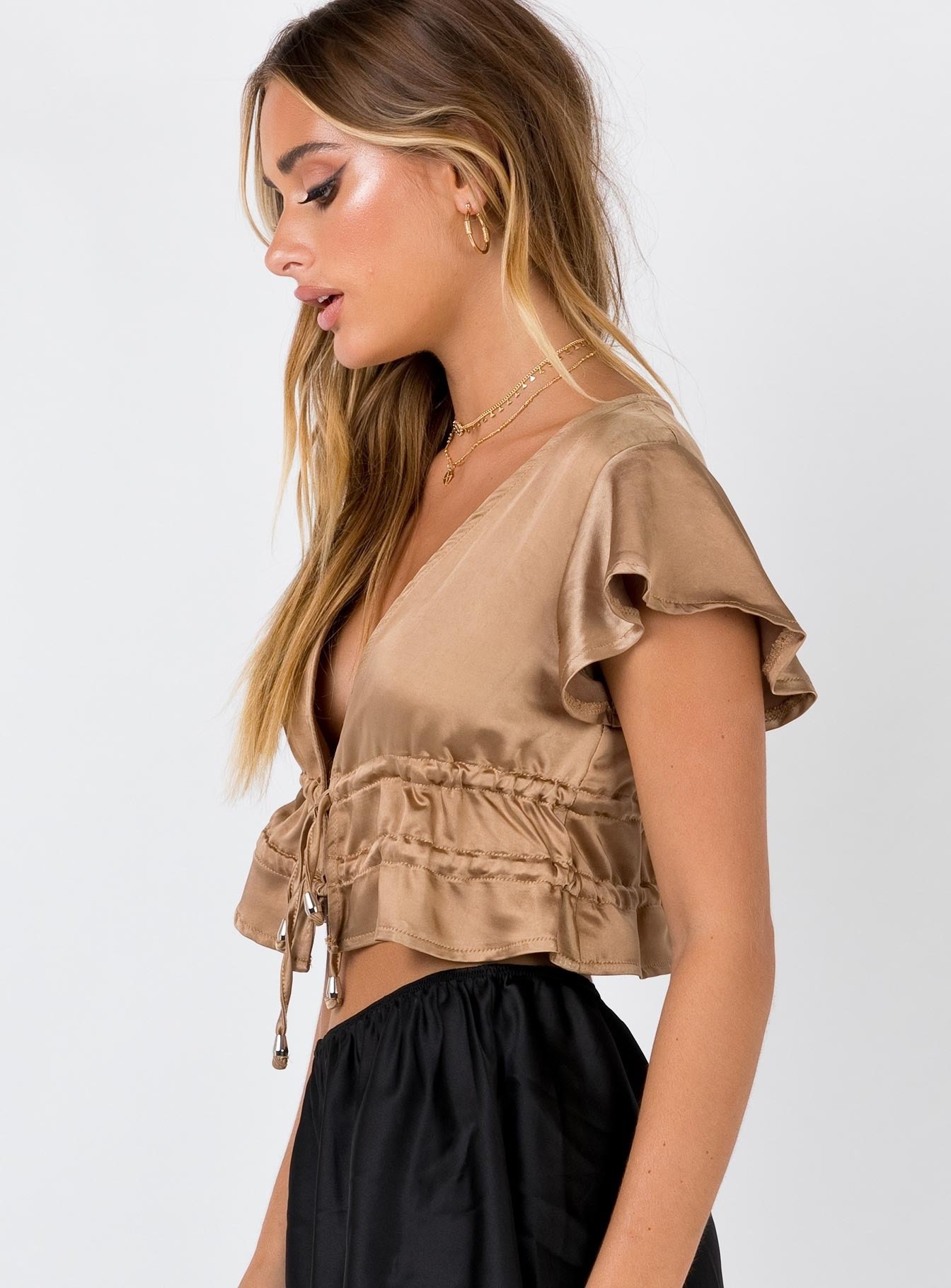 Tasmon Silky Crop Top Beige
