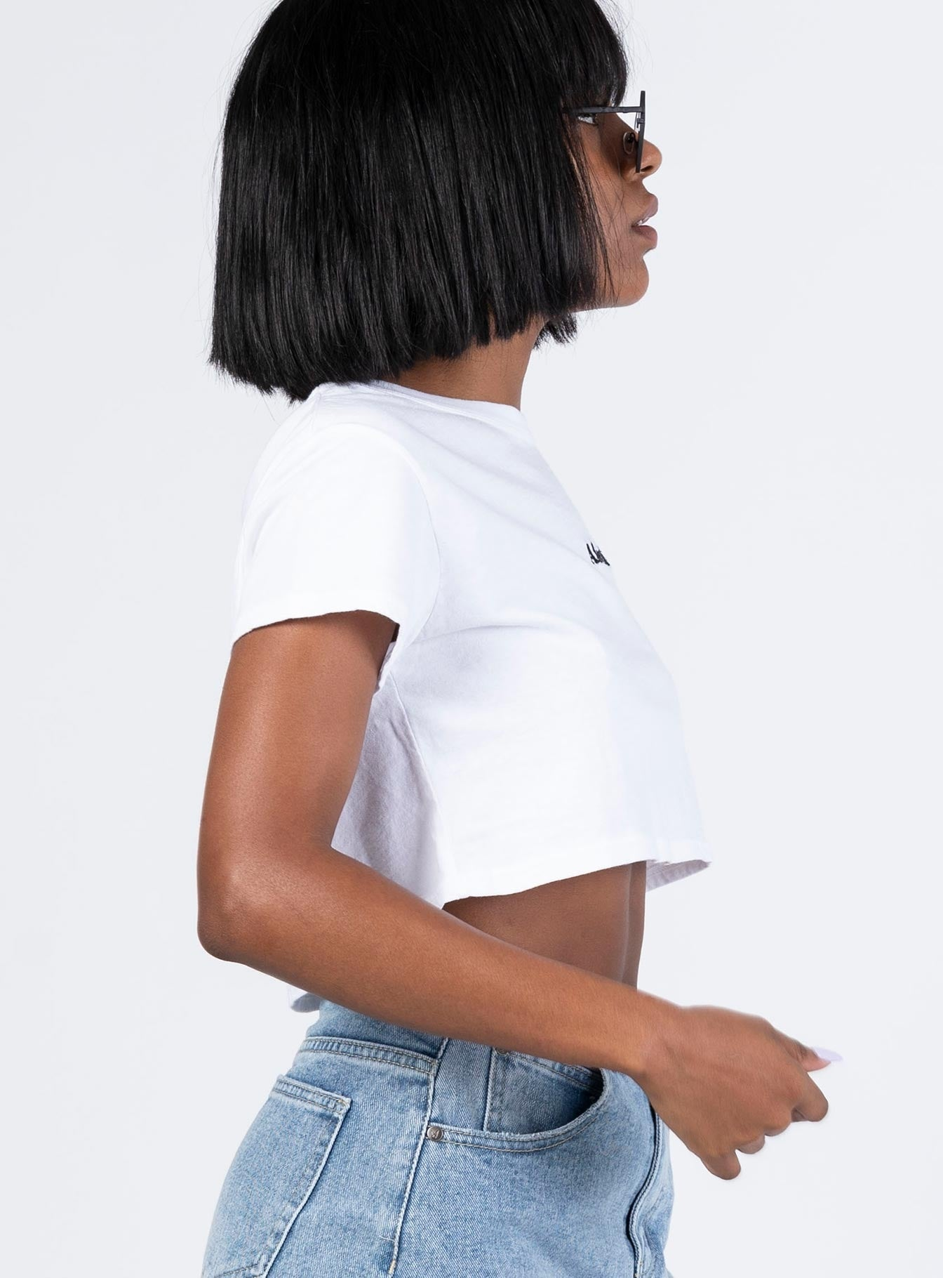 Afends Logo Wide Neck Cropped Tee White