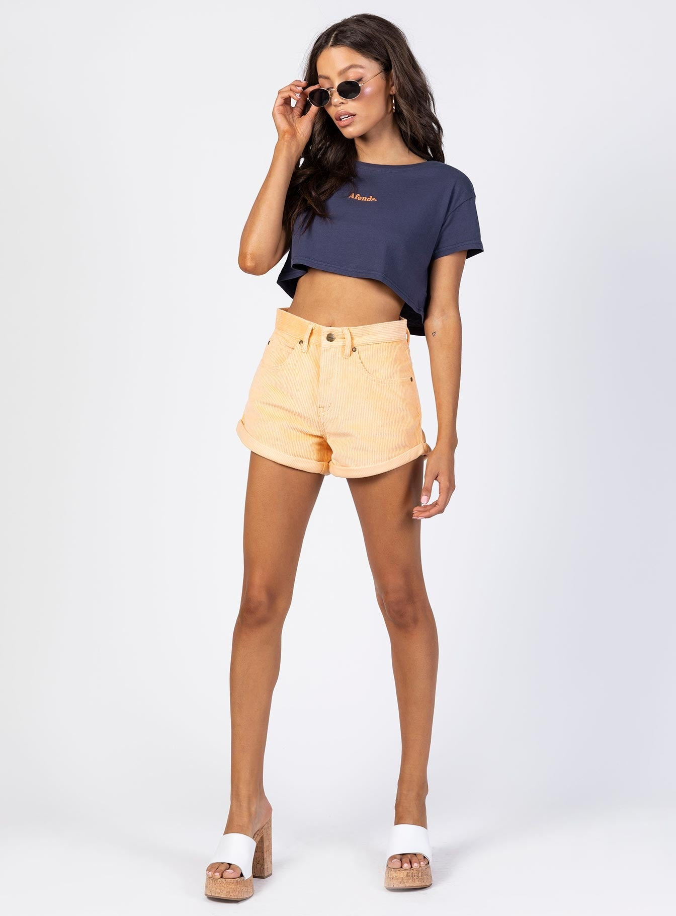 Afends Logo Wide Neck Cropped Tee Navy