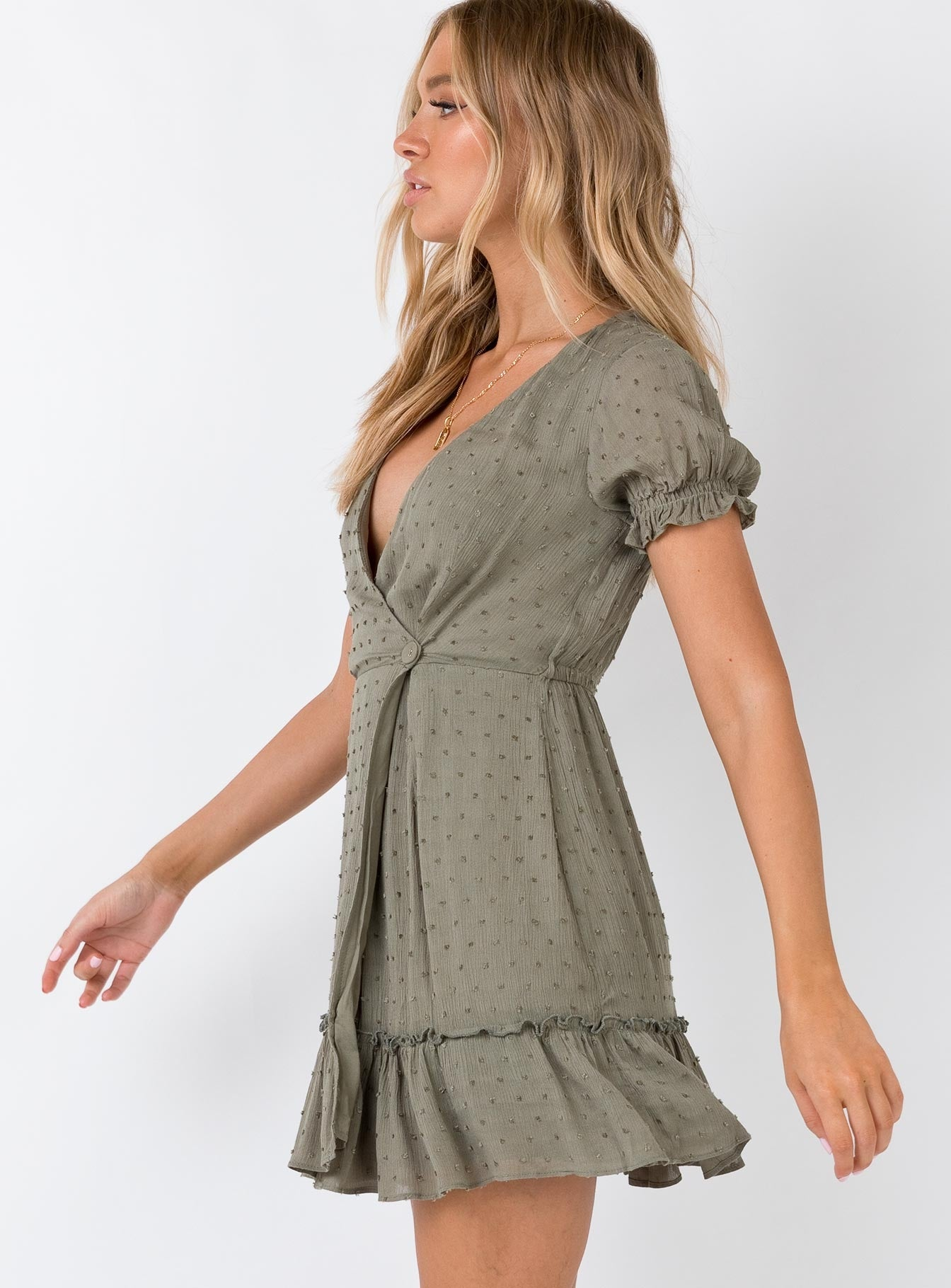 Minkpink Elsi Crinkle Mini Wrap Dress Sage