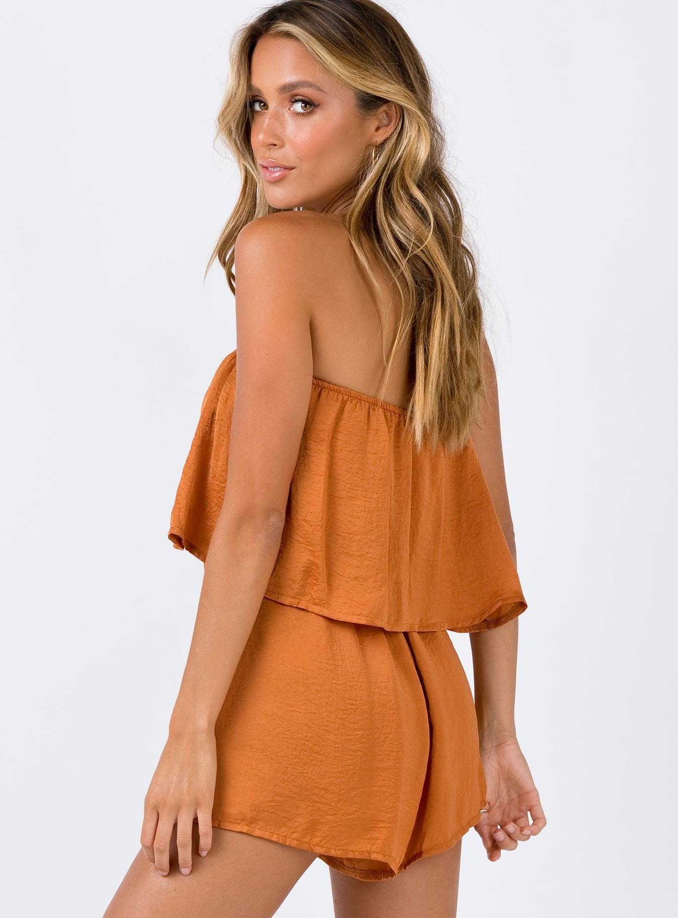 Spiced Honey Strapless Romper Burnt Orange