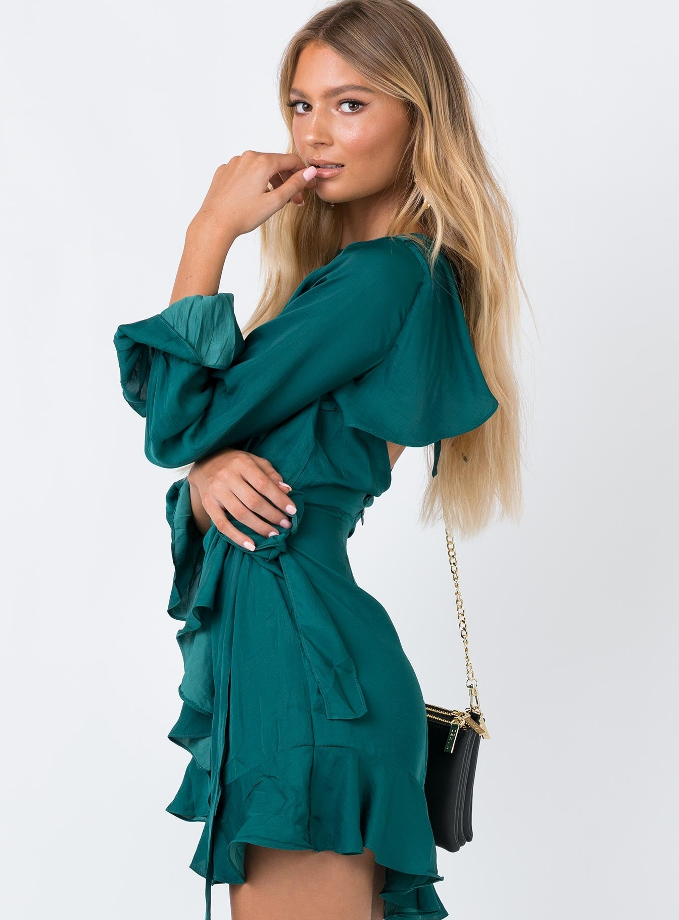 Valrie Mini Dress Forest Green