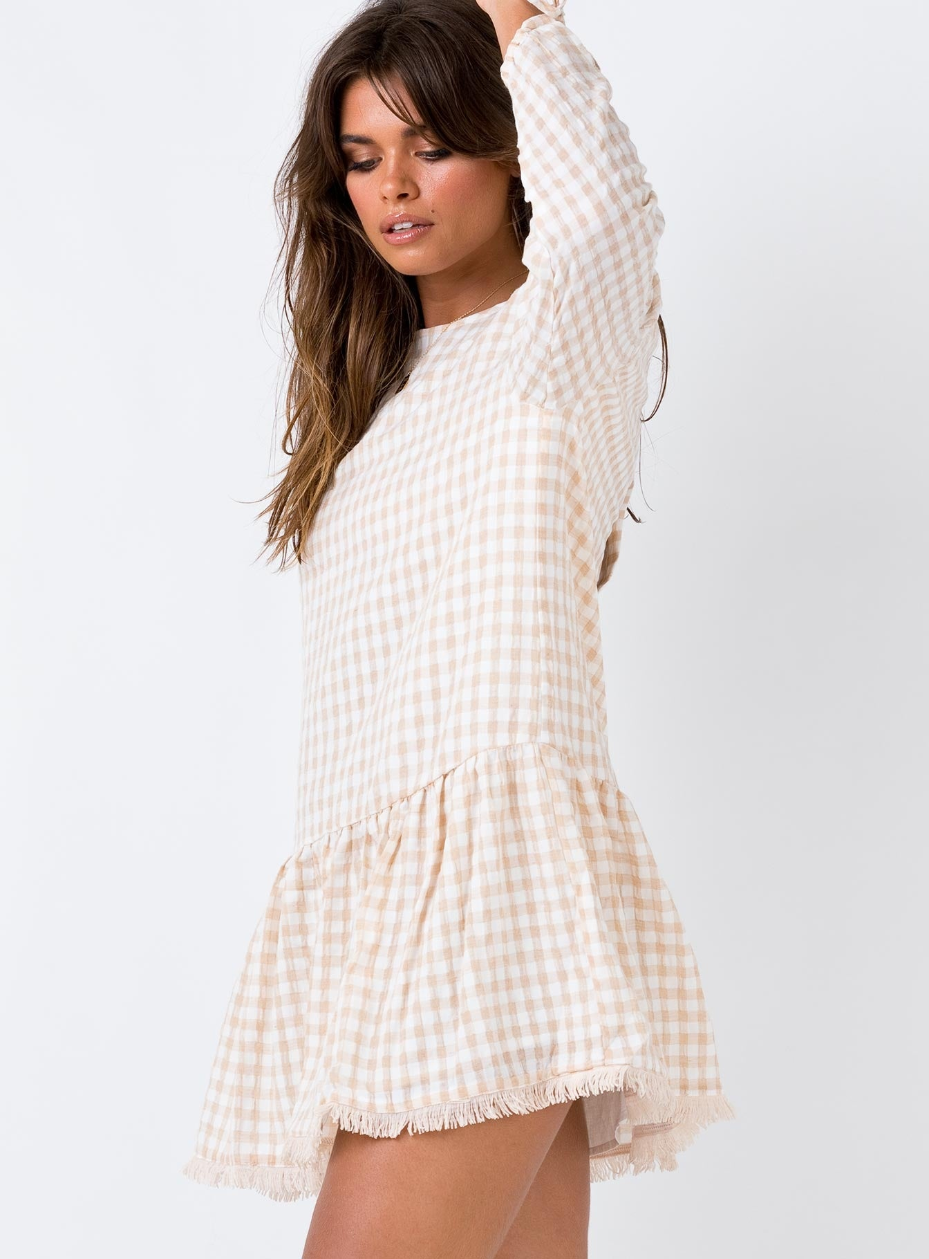 Zemira Smock Mini Dress Beige