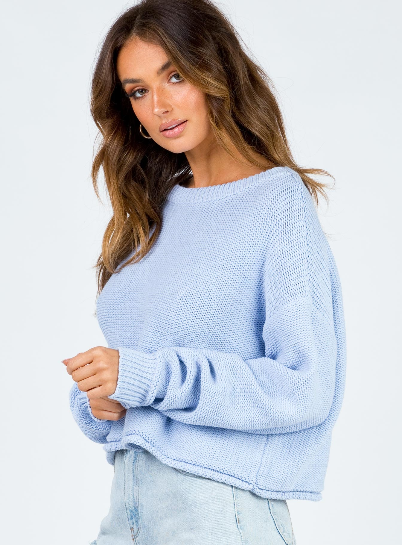 Danniella Cropped Sweater Blue