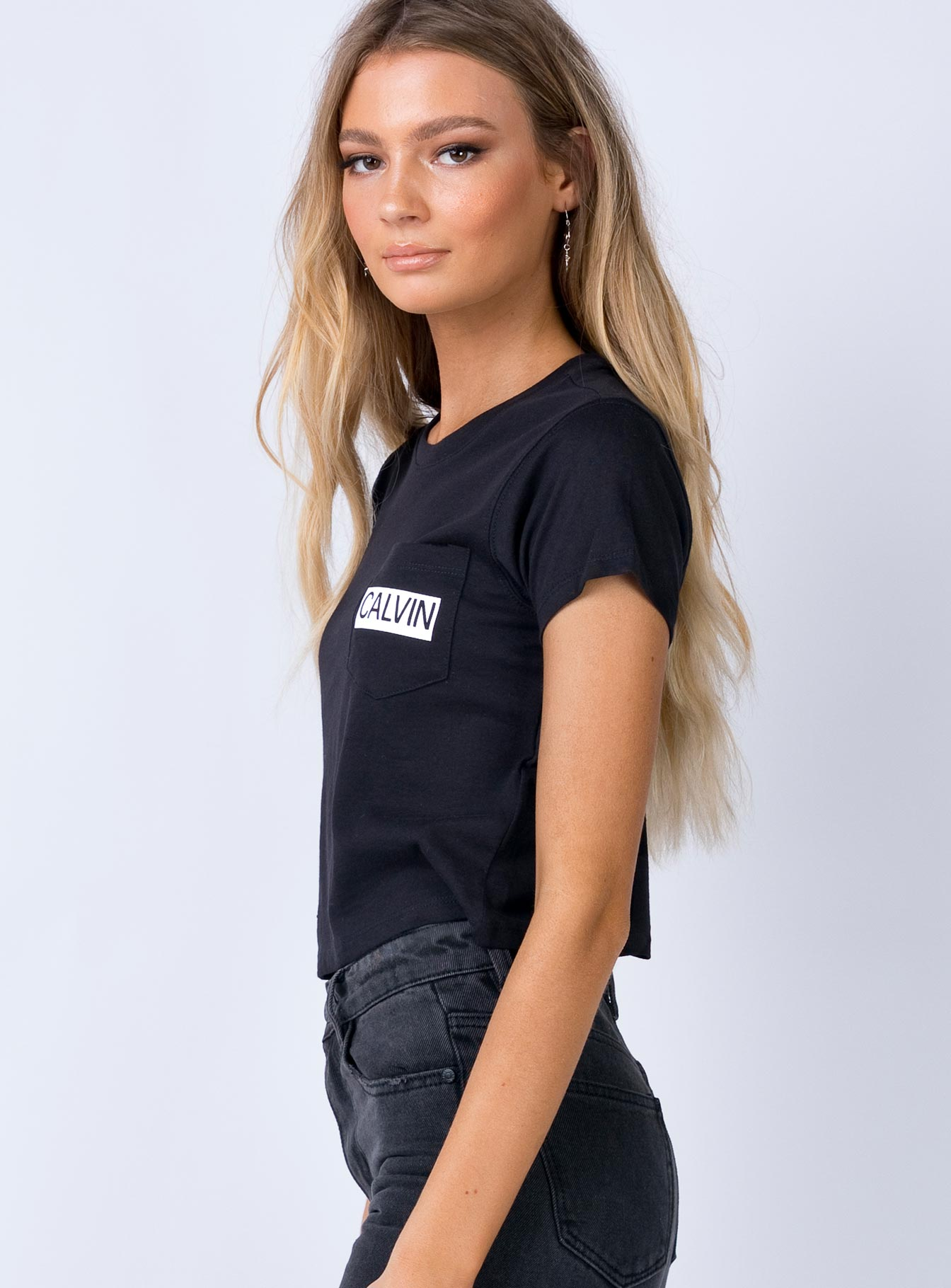 Calvin Klein Calvin Pocket Cropped Tee Black