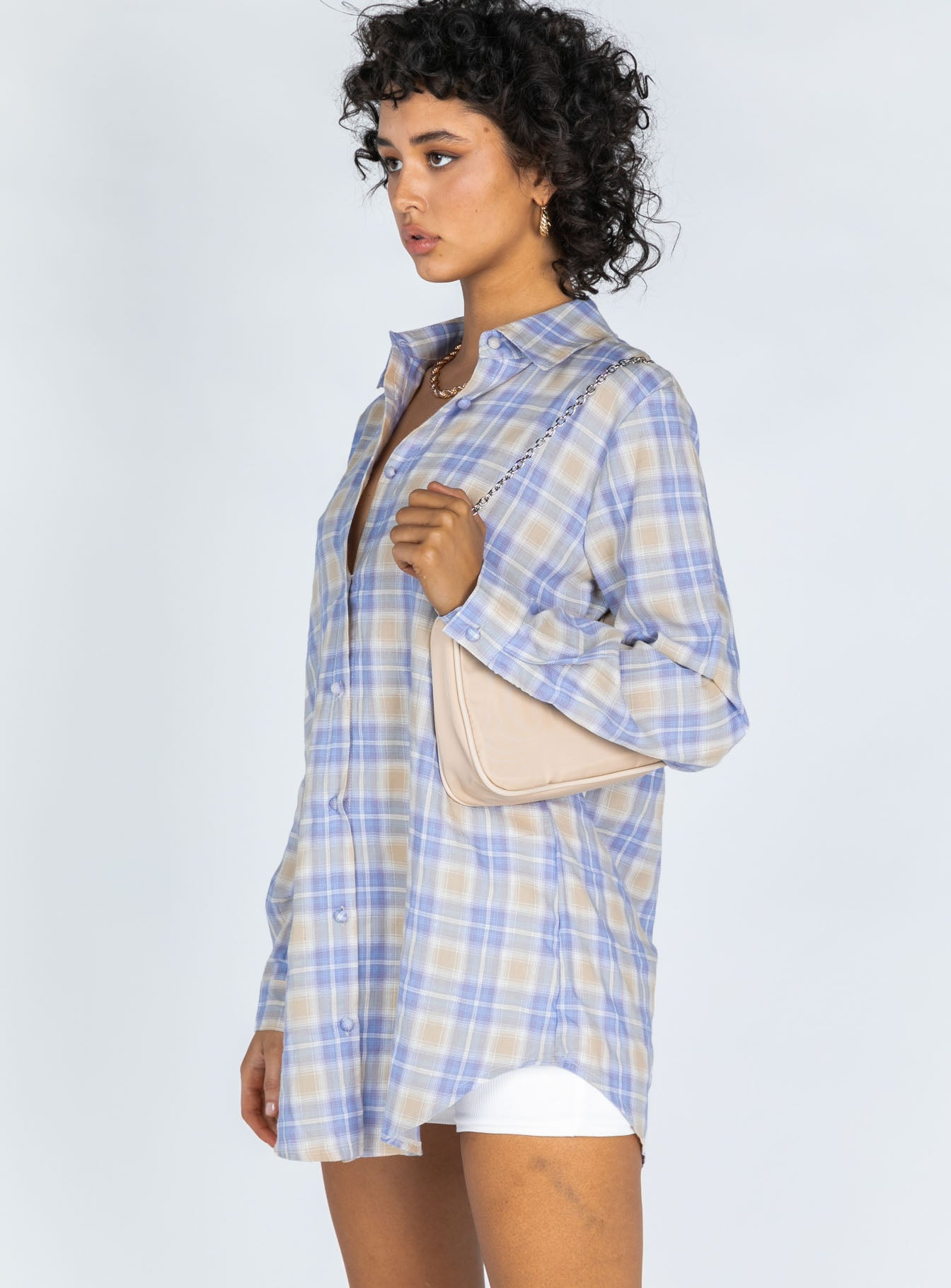 Hailey Shirt Dress Beige / Blue