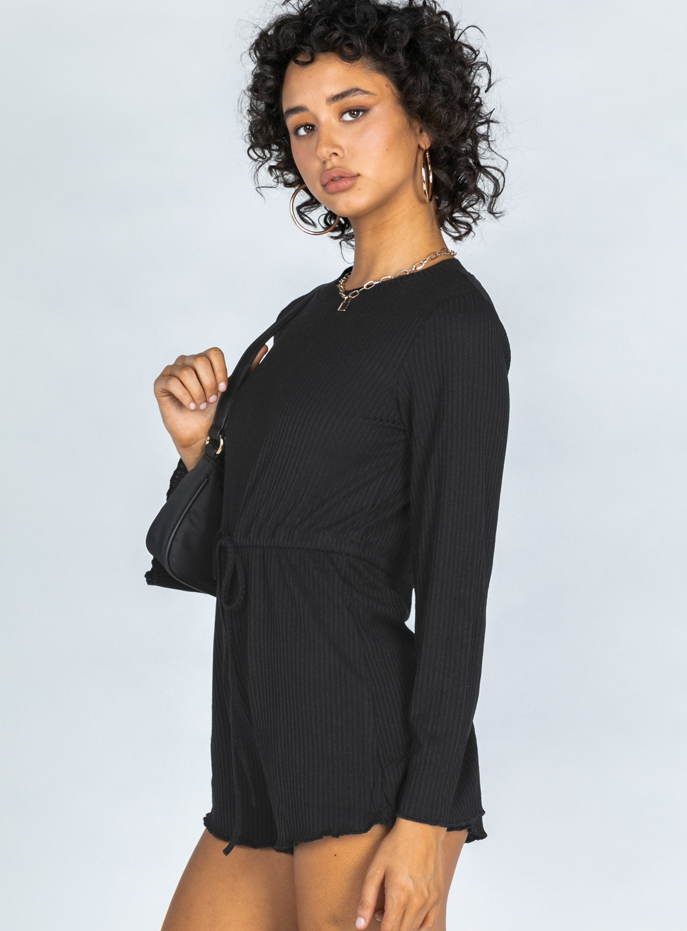 Aiken Long Sleeve Black Romper
