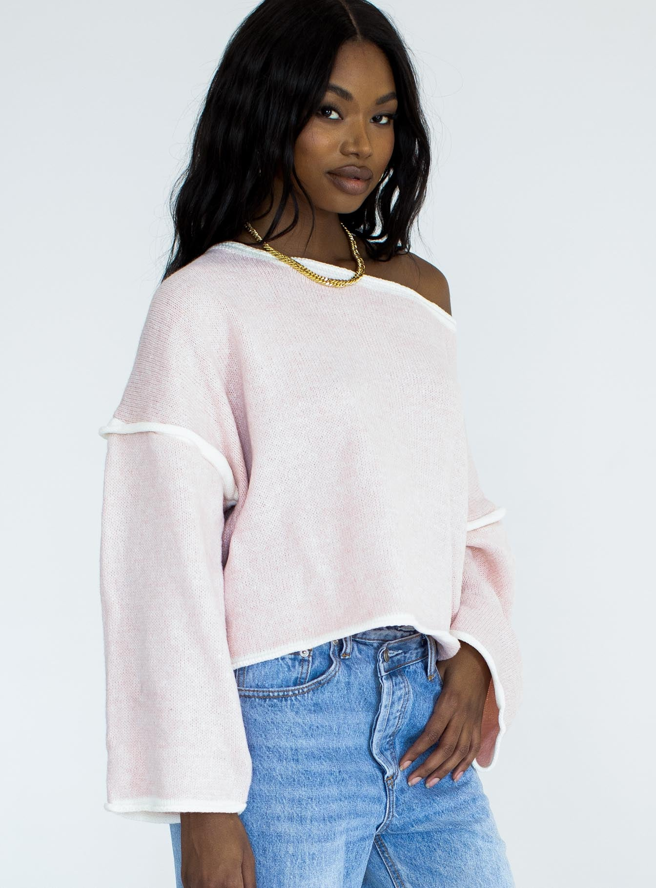 Reece Off The Shoulder Sweater Pink