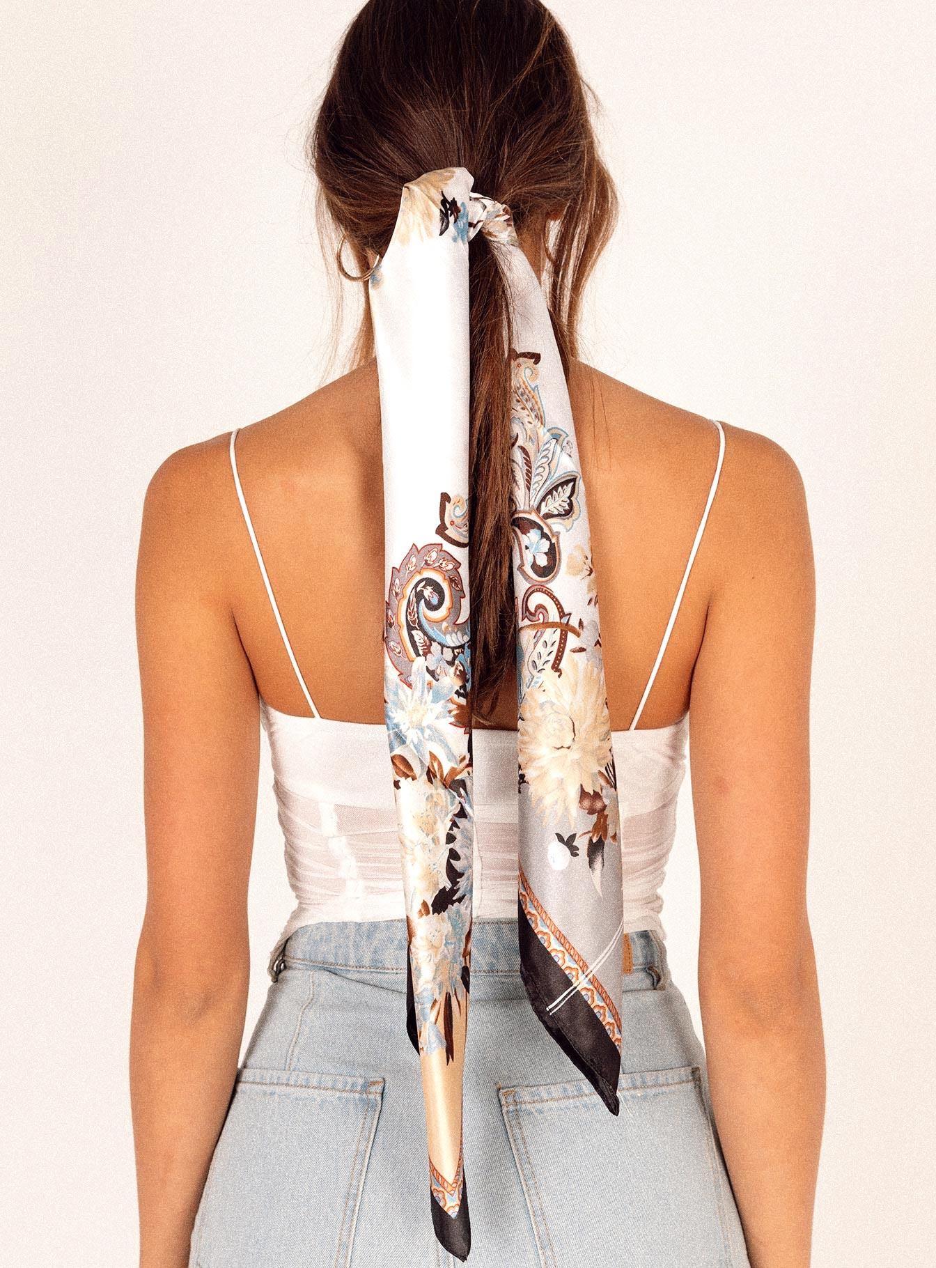 Gemini Satin Scarf Black & White