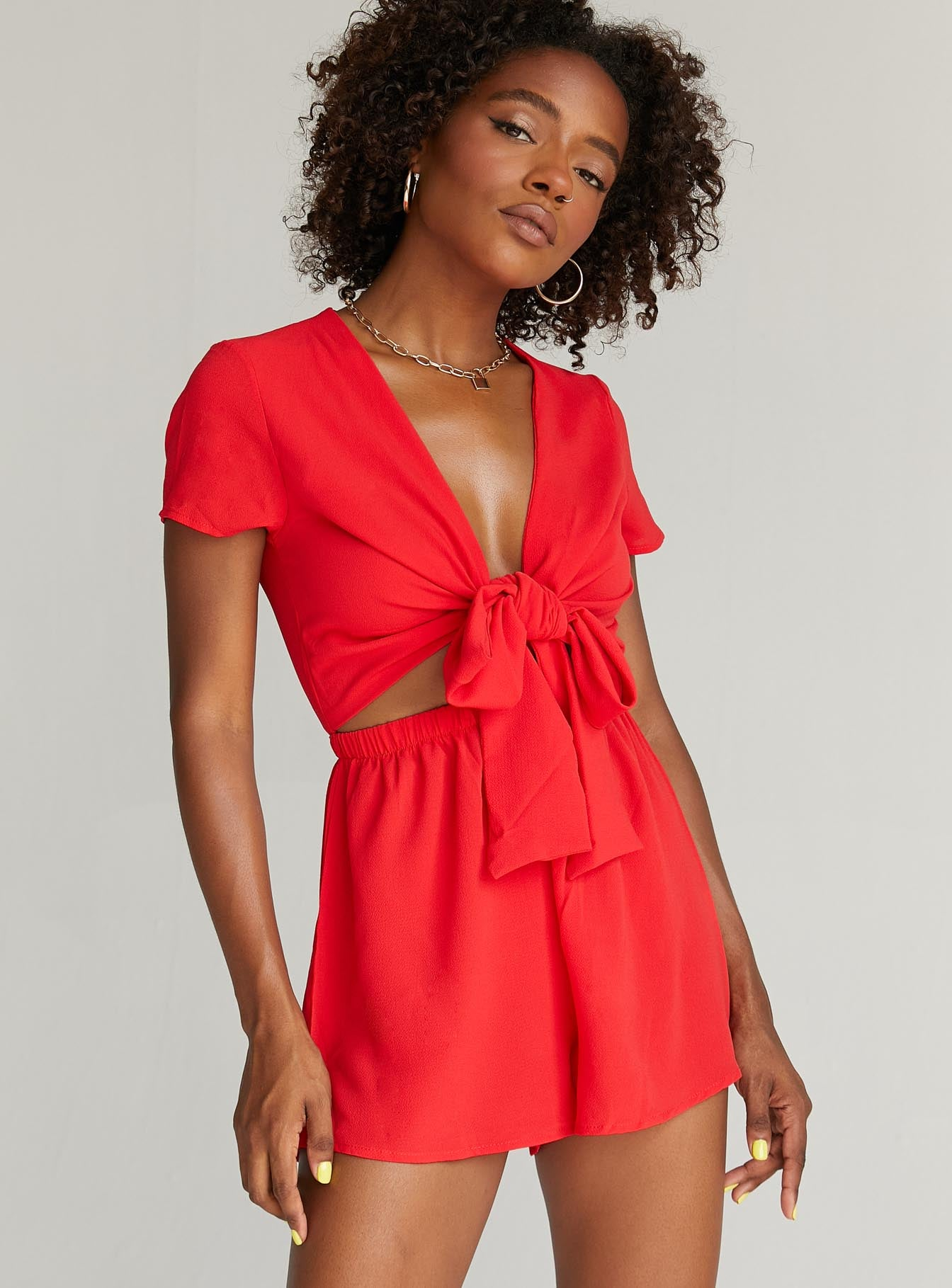 Sweet Sahara Tie Front Romper Red